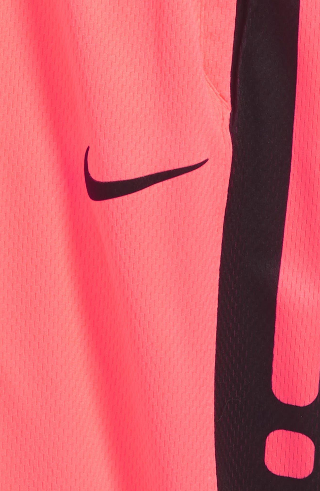 Dry Elite Basketball Shorts,                             Alternate thumbnail 3, color,                             Hot Punch/ Black