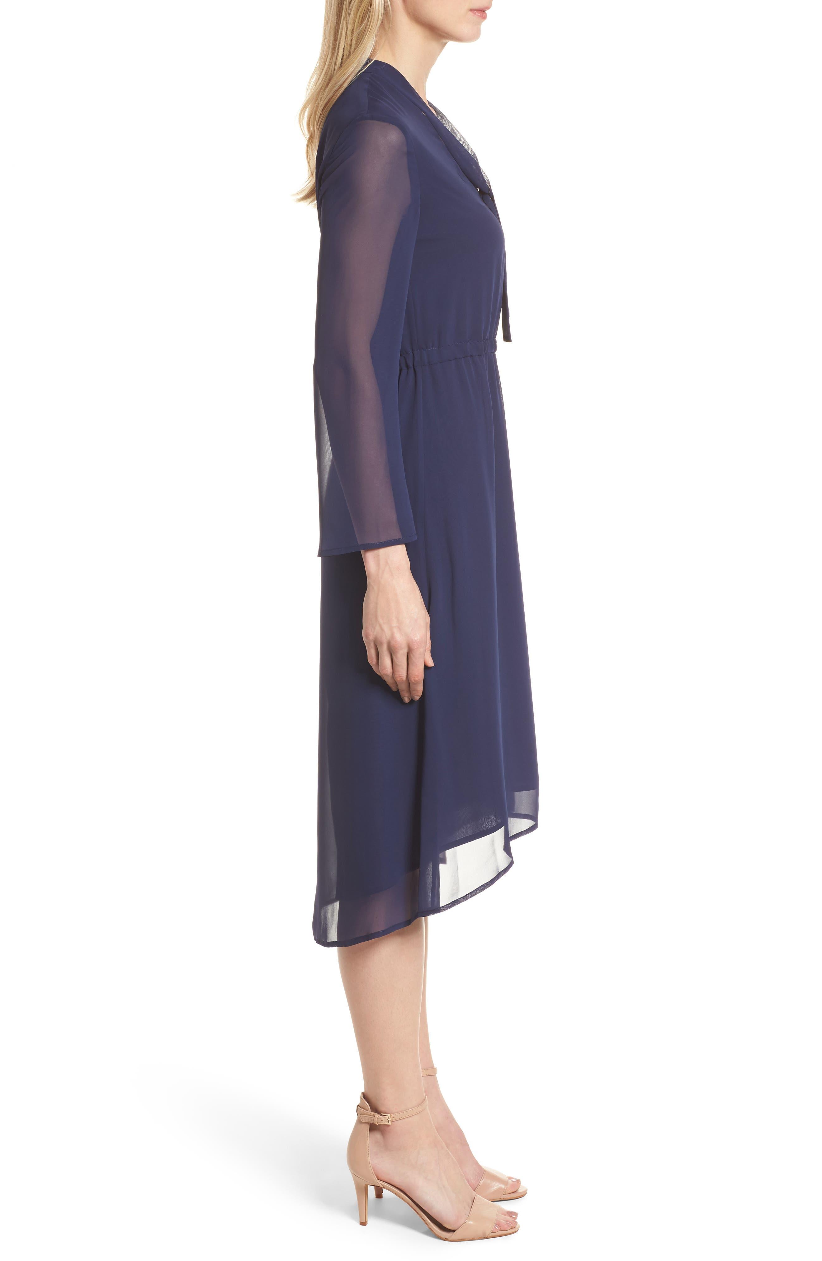 Sheer Overlay Tie Dress,                             Alternate thumbnail 3, color,                             Breton Blue