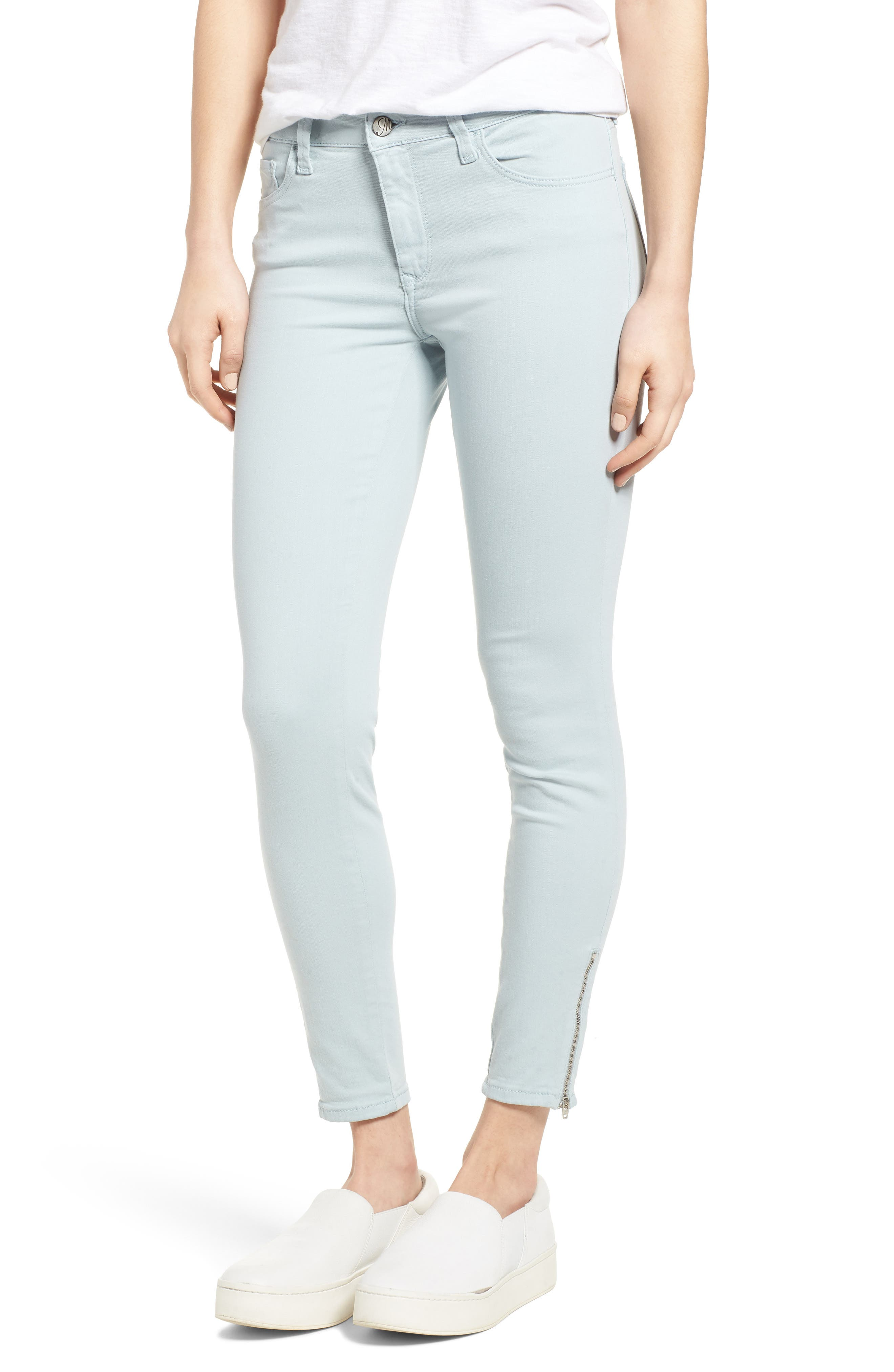 Adriana Zip Ankle Super Skinny Jeans,                             Main thumbnail 1, color,                             Zip Slate Twill