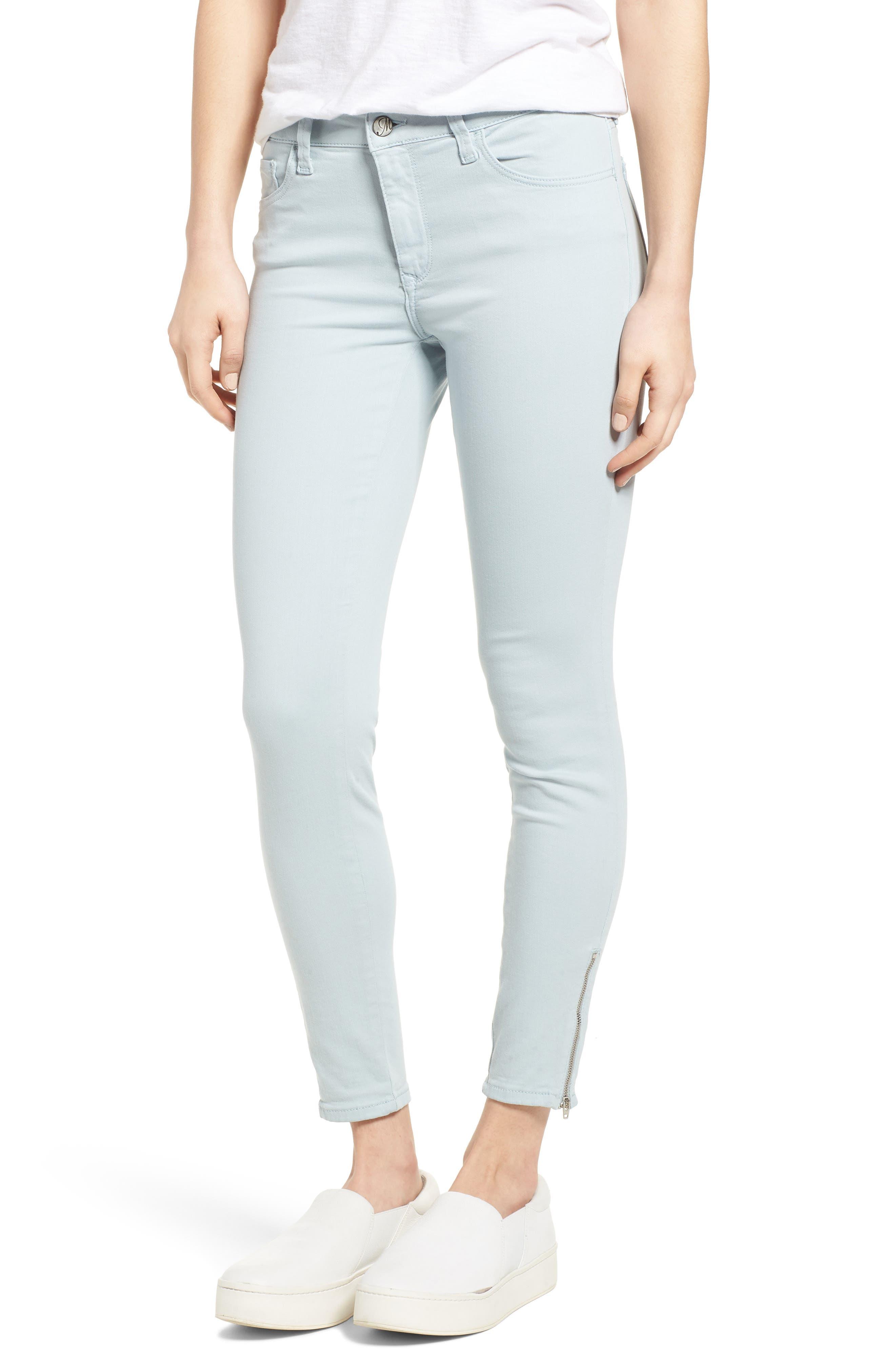 Adriana Zip Ankle Super Skinny Jeans,                         Main,                         color, Zip Slate Twill