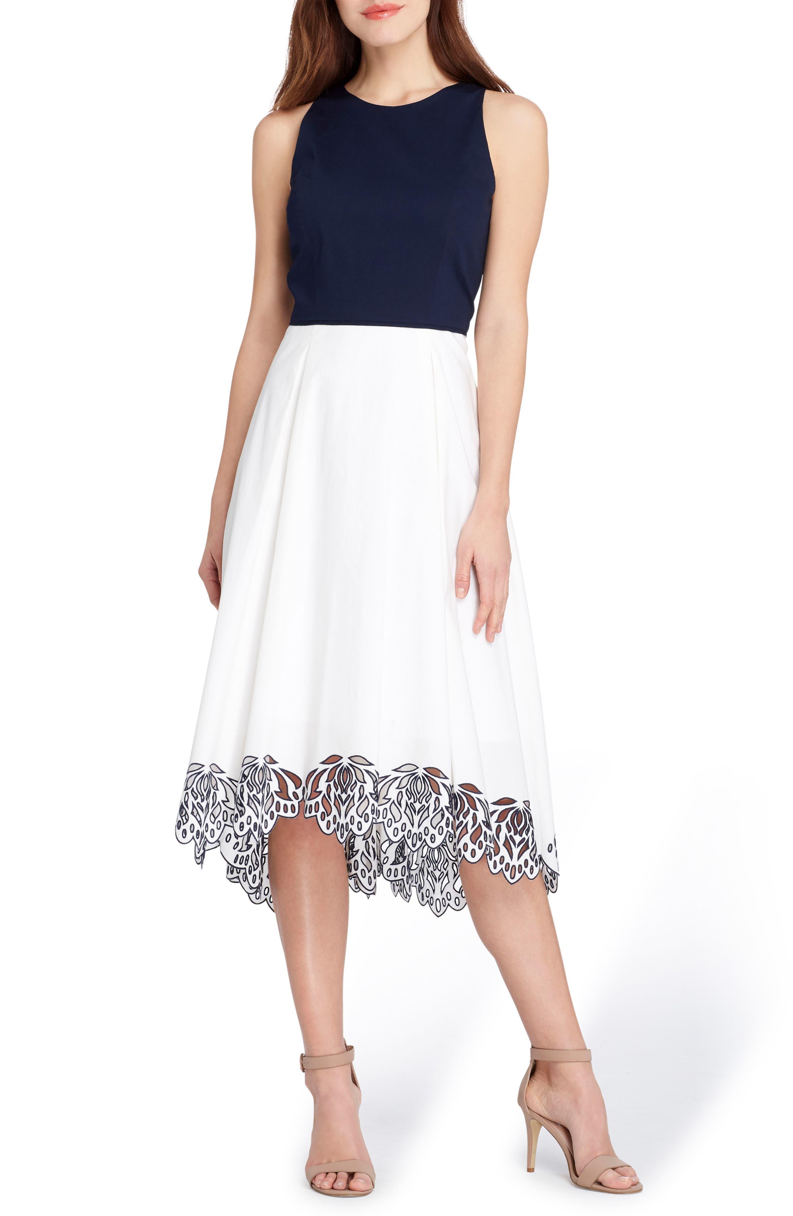 Sleeveless Floral Hem Midi Dress,                             Main thumbnail 1, color,                             White/ Navy