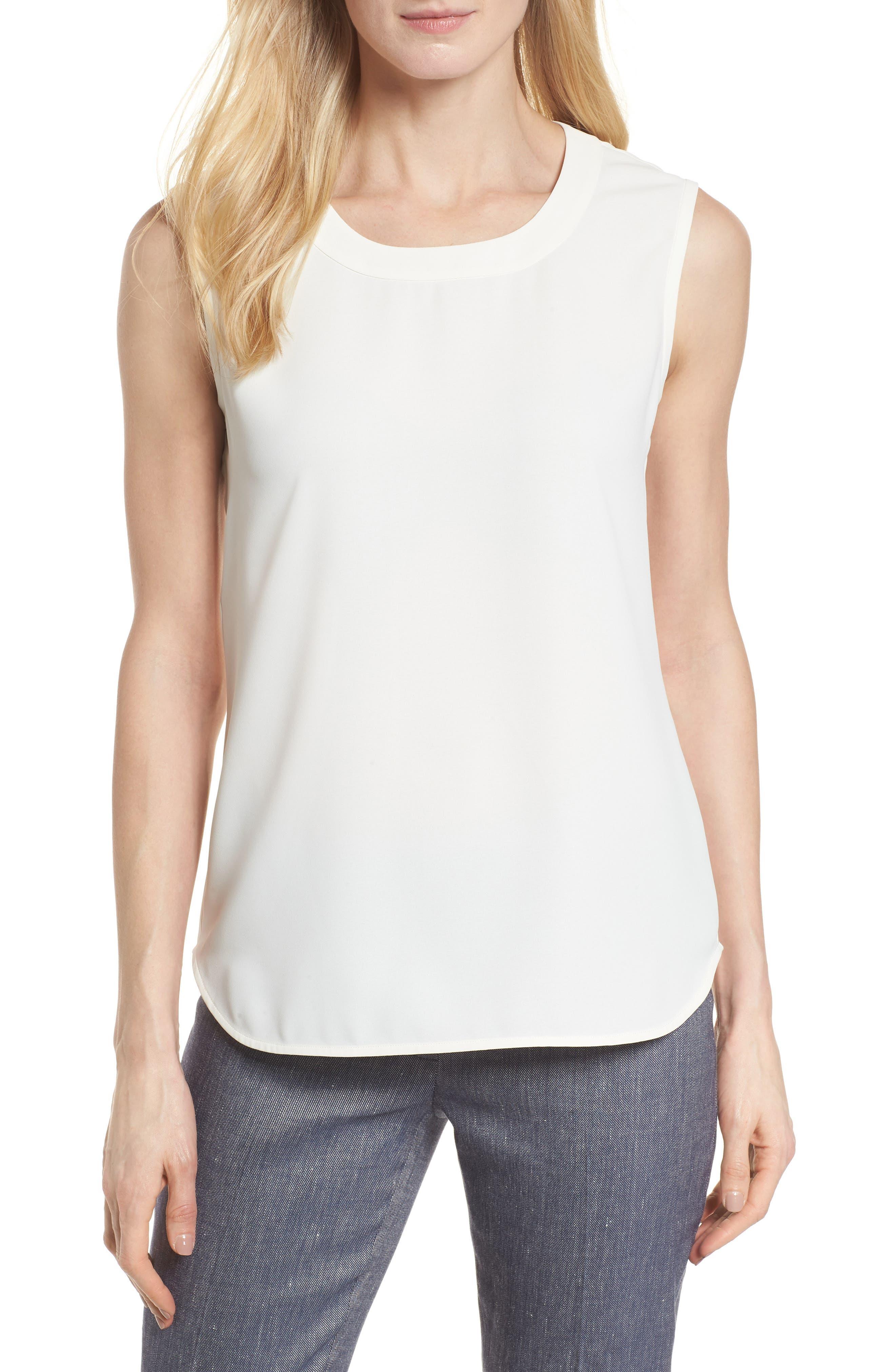 U-Neck Shell,                         Main,                         color, White