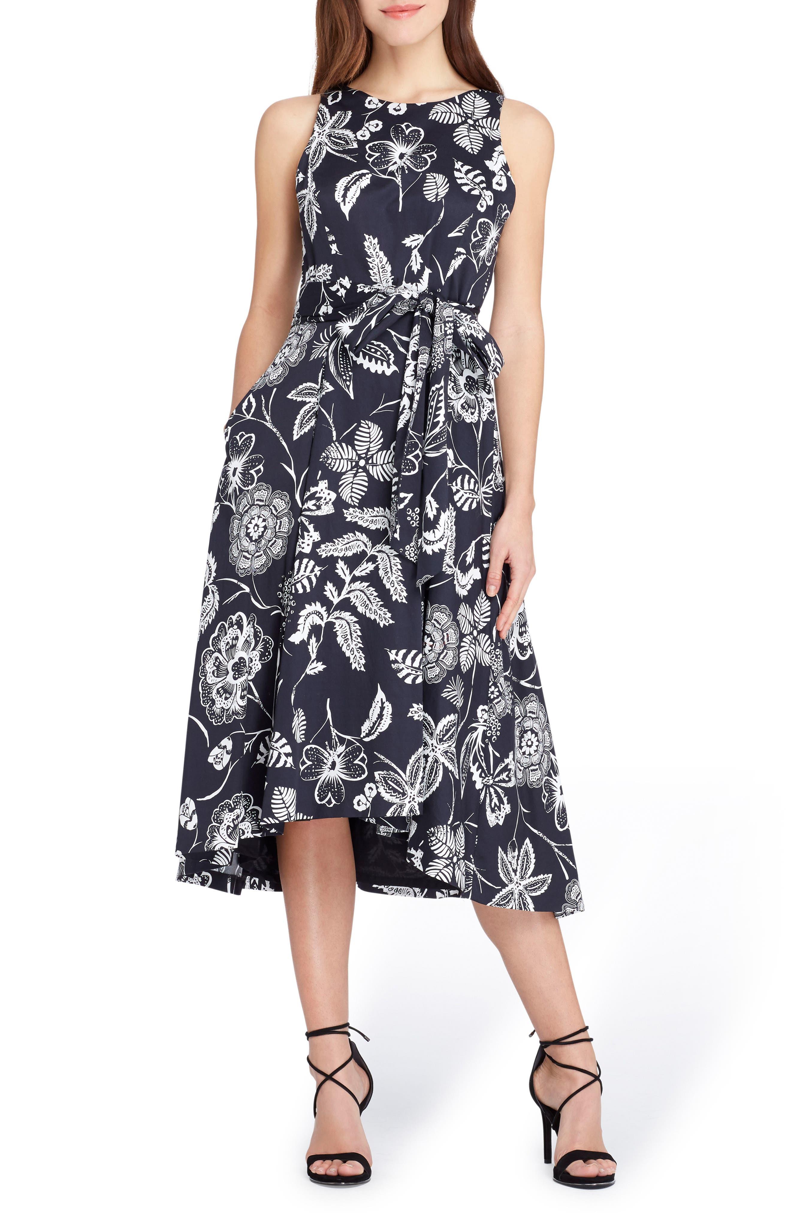 Print Sateen Midi Dress,                             Main thumbnail 1, color,                             Black/ White