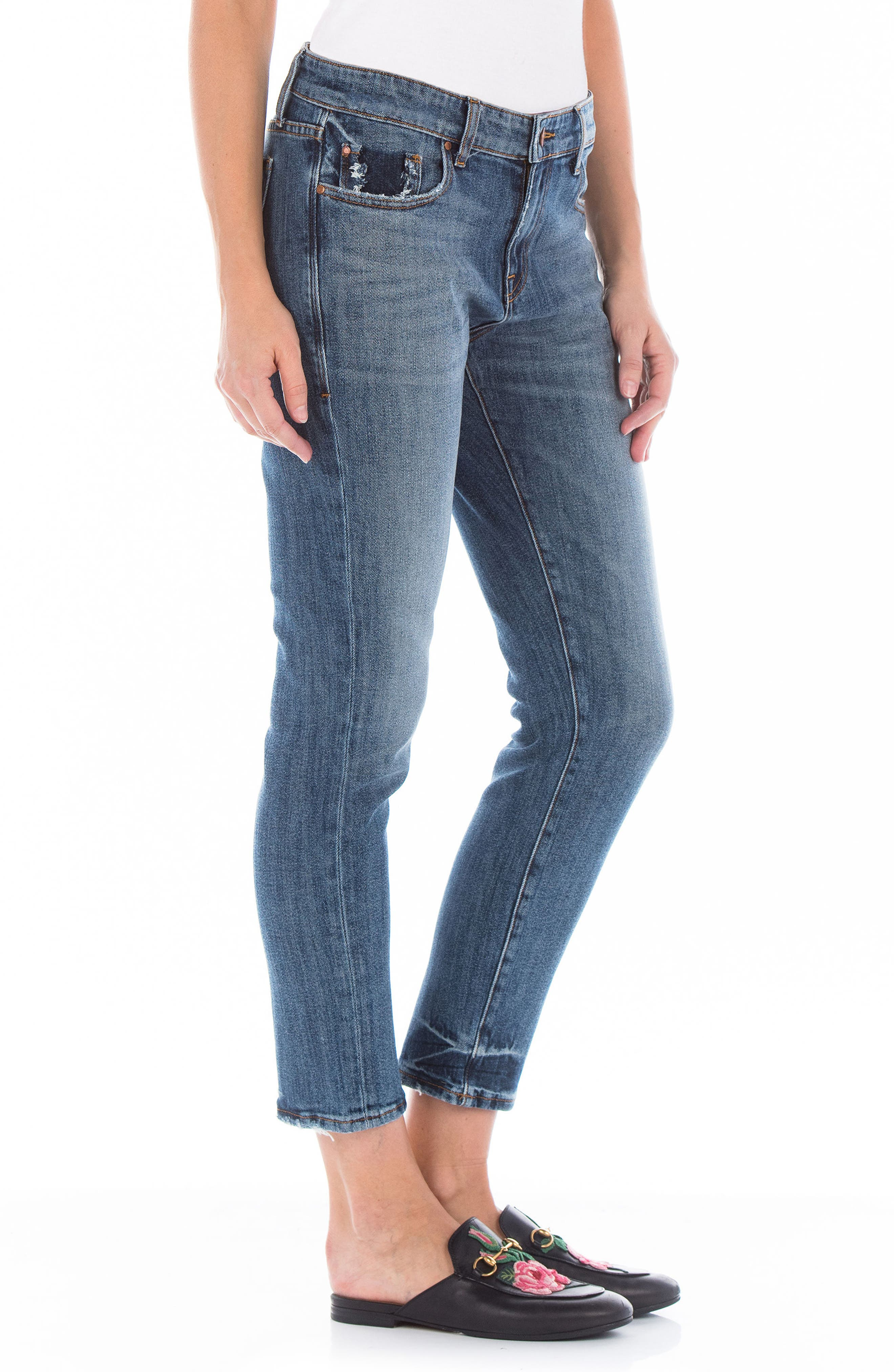 Dee Dee Distressed Crop Jeans,                             Alternate thumbnail 3, color,                             Victorian Blue