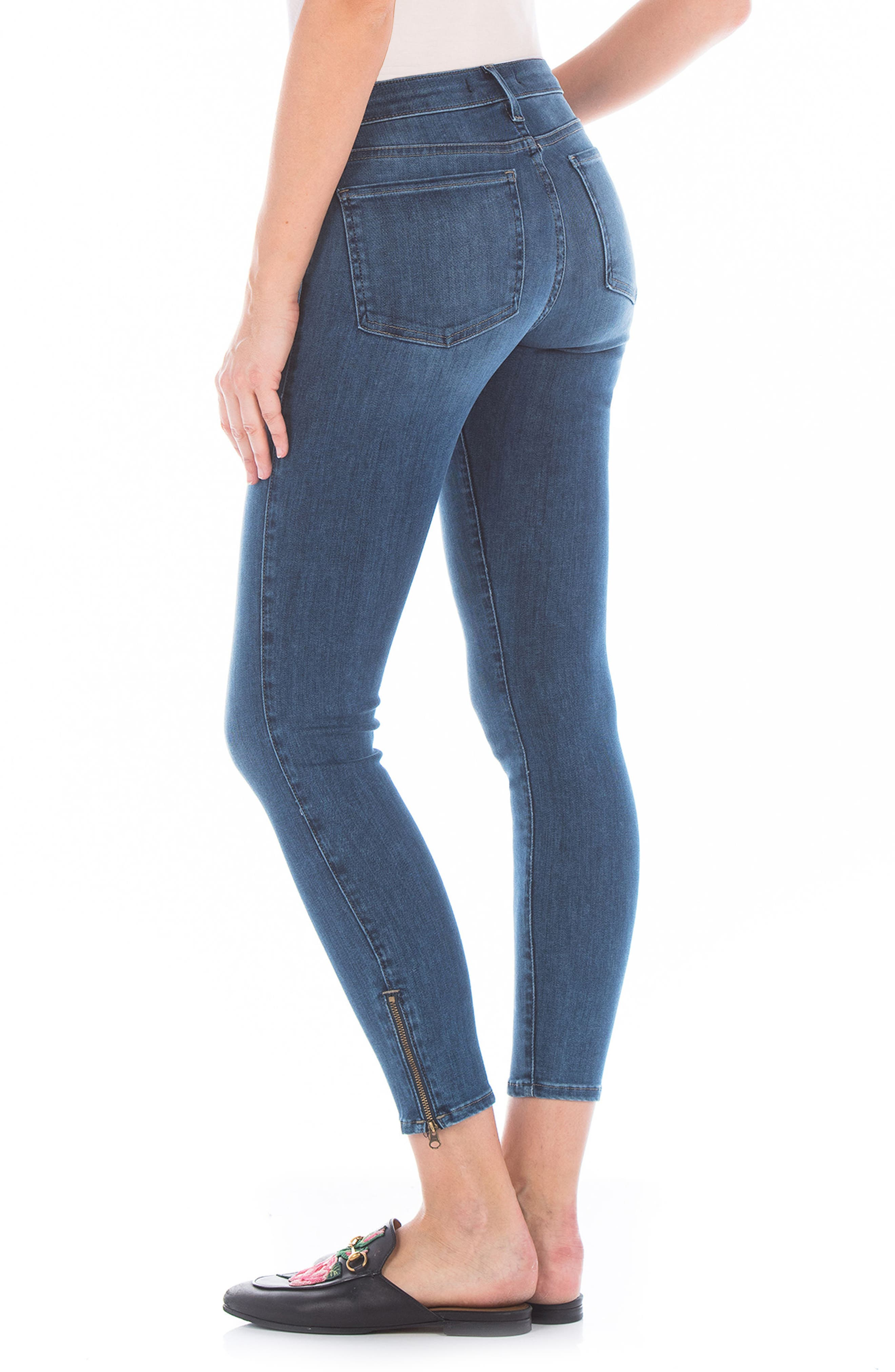 Mila Ankle Zip Skinny Jeans,                             Alternate thumbnail 3, color,                             Blue Coast