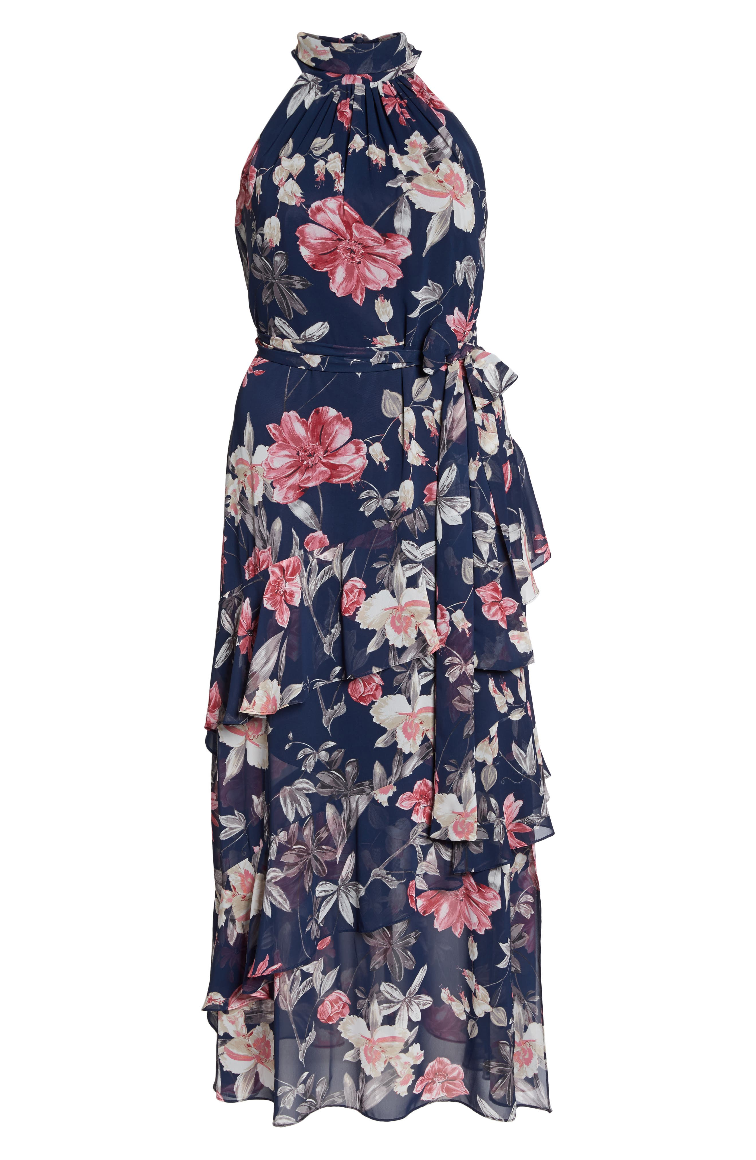 Halter Neck Chiffon Gown,                             Alternate thumbnail 6, color,                             Navy/ Pink