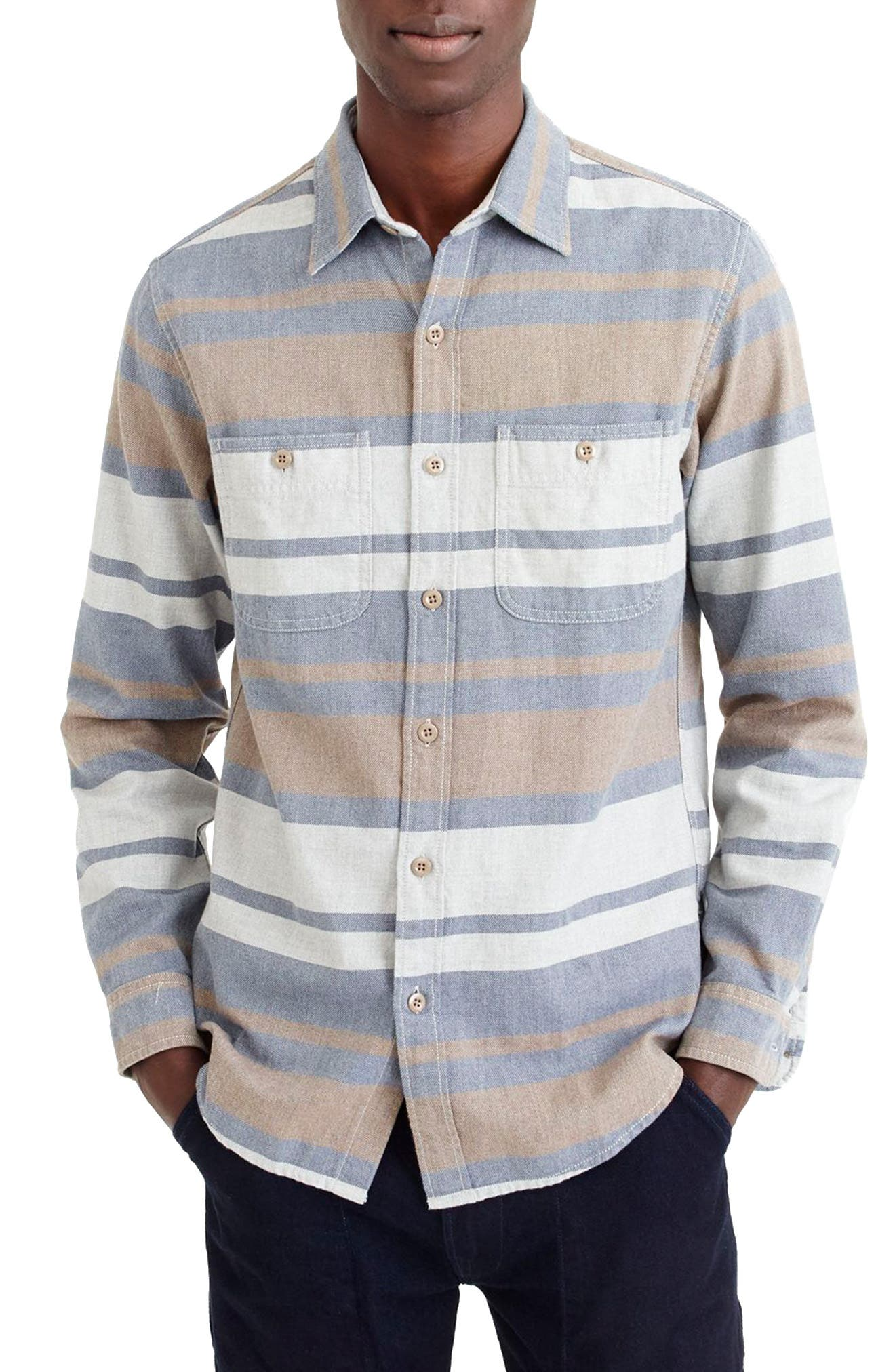 Classic Fit Deck Stripe Work Shirt,                         Main,                         color, Pavement Sea