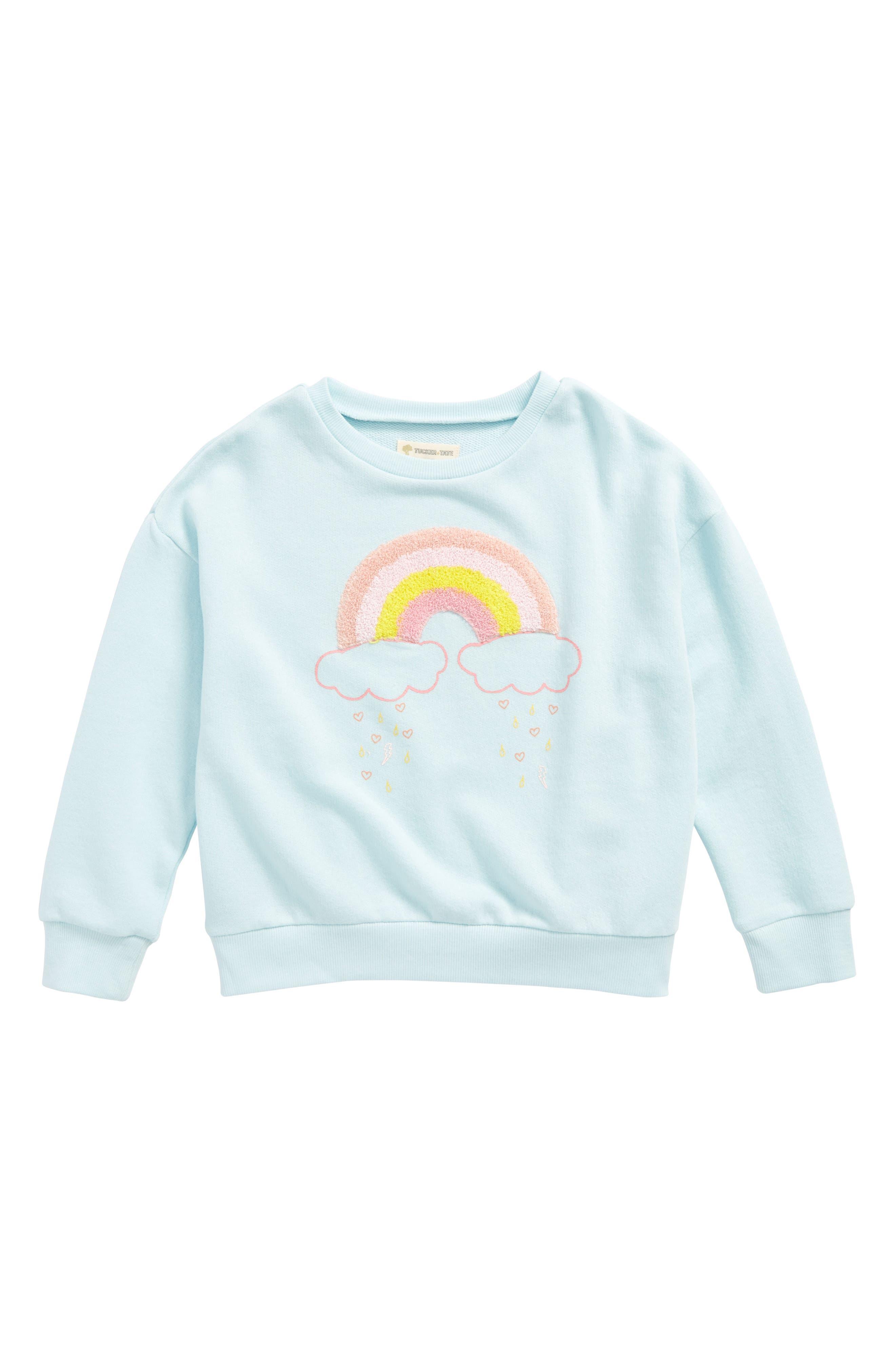Rainbow Appliqué Sweatshirt,                         Main,                         color, Blue Glow Rainbow