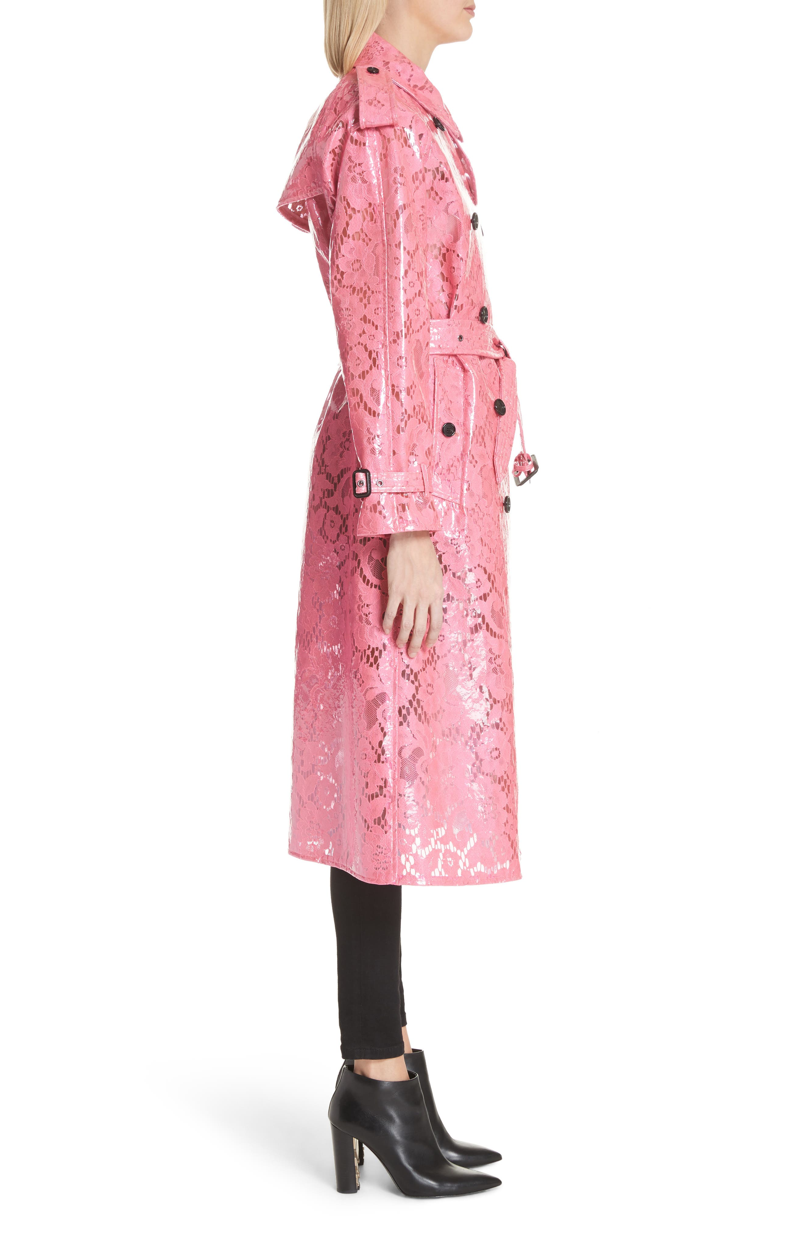 Eastheath Coated Lace Trench Coat,                             Alternate thumbnail 3, color,                             Bright Pink