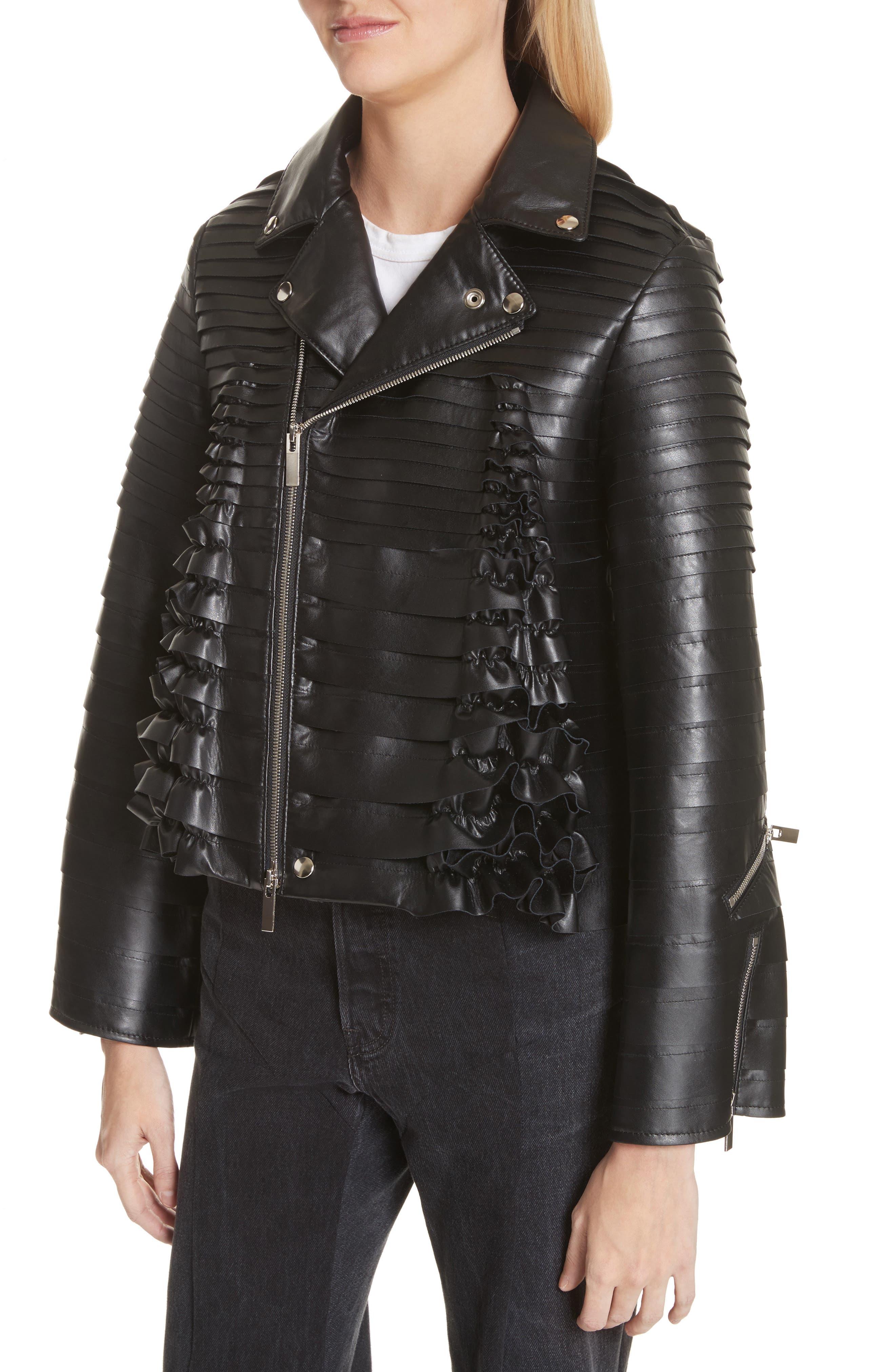 Ribbon Faux Leather Jacket,                             Alternate thumbnail 4, color,                             Black