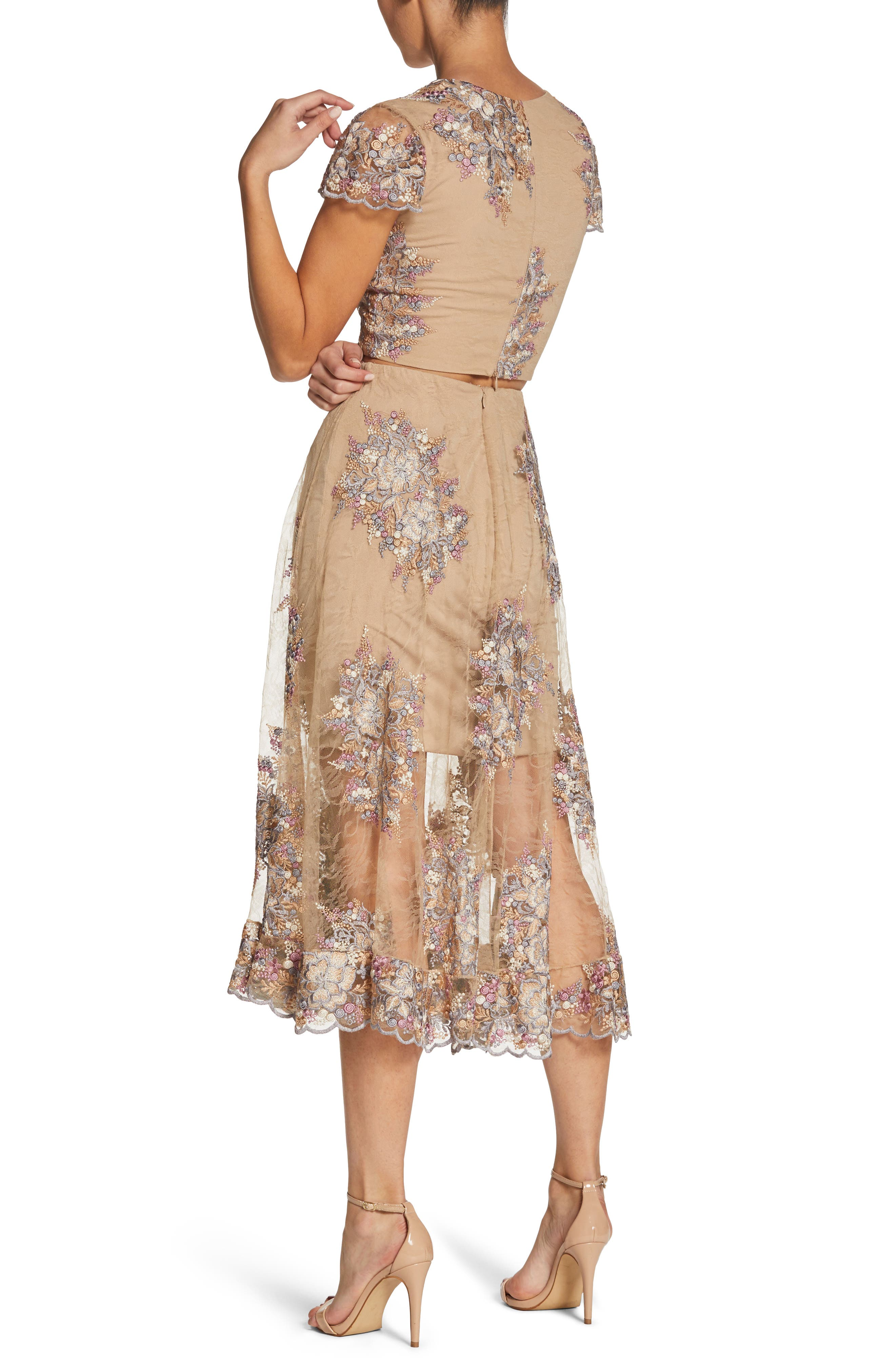 Juliana Two-Piece Dress,                             Alternate thumbnail 2, color,                             Nude/ Floral