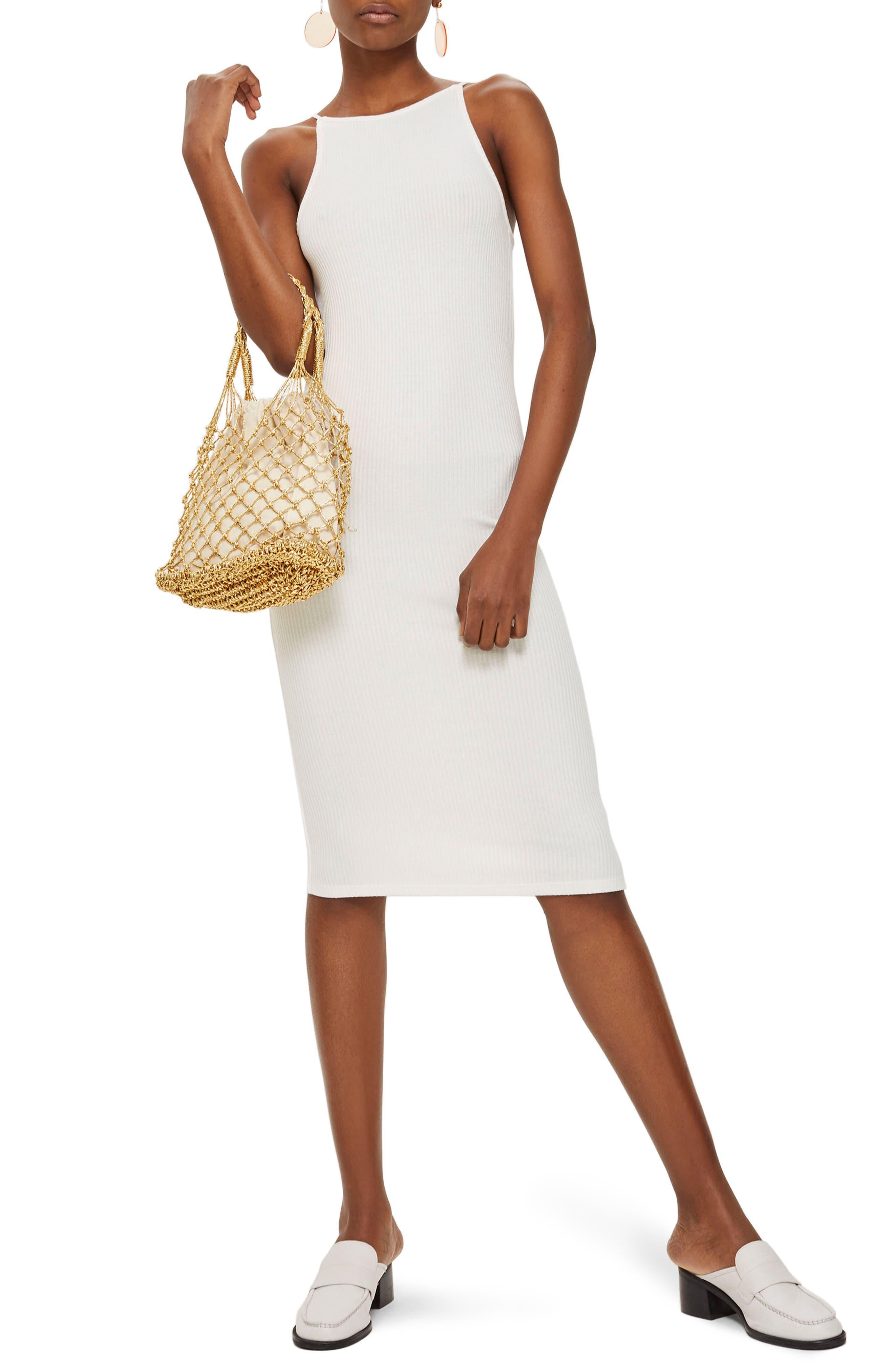 Scoop Back Ribbed Midi Dress,                             Main thumbnail 1, color,                             White