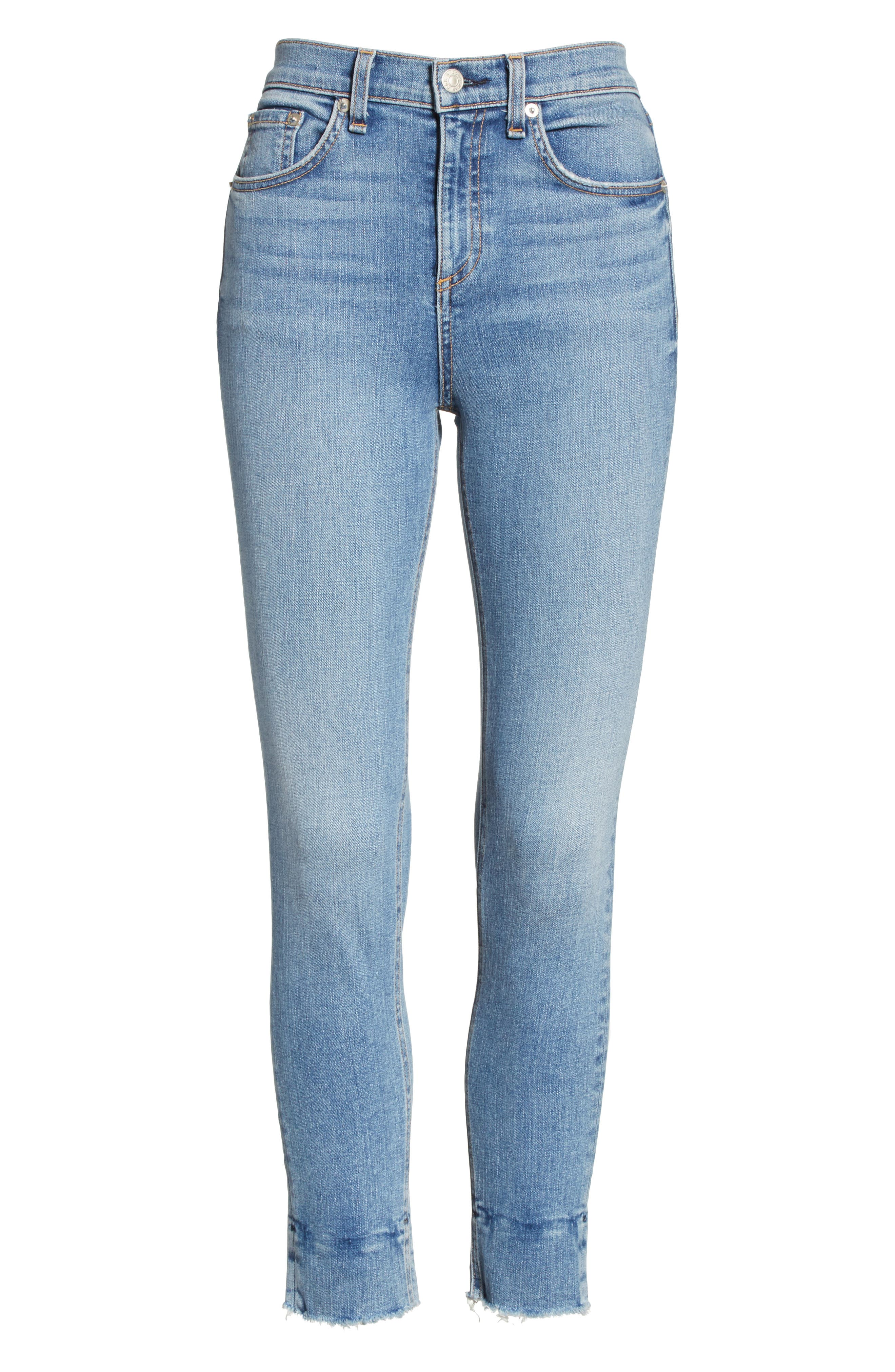 High Waist Ankle Skinny Jeans,                             Alternate thumbnail 7, color,                             Levee