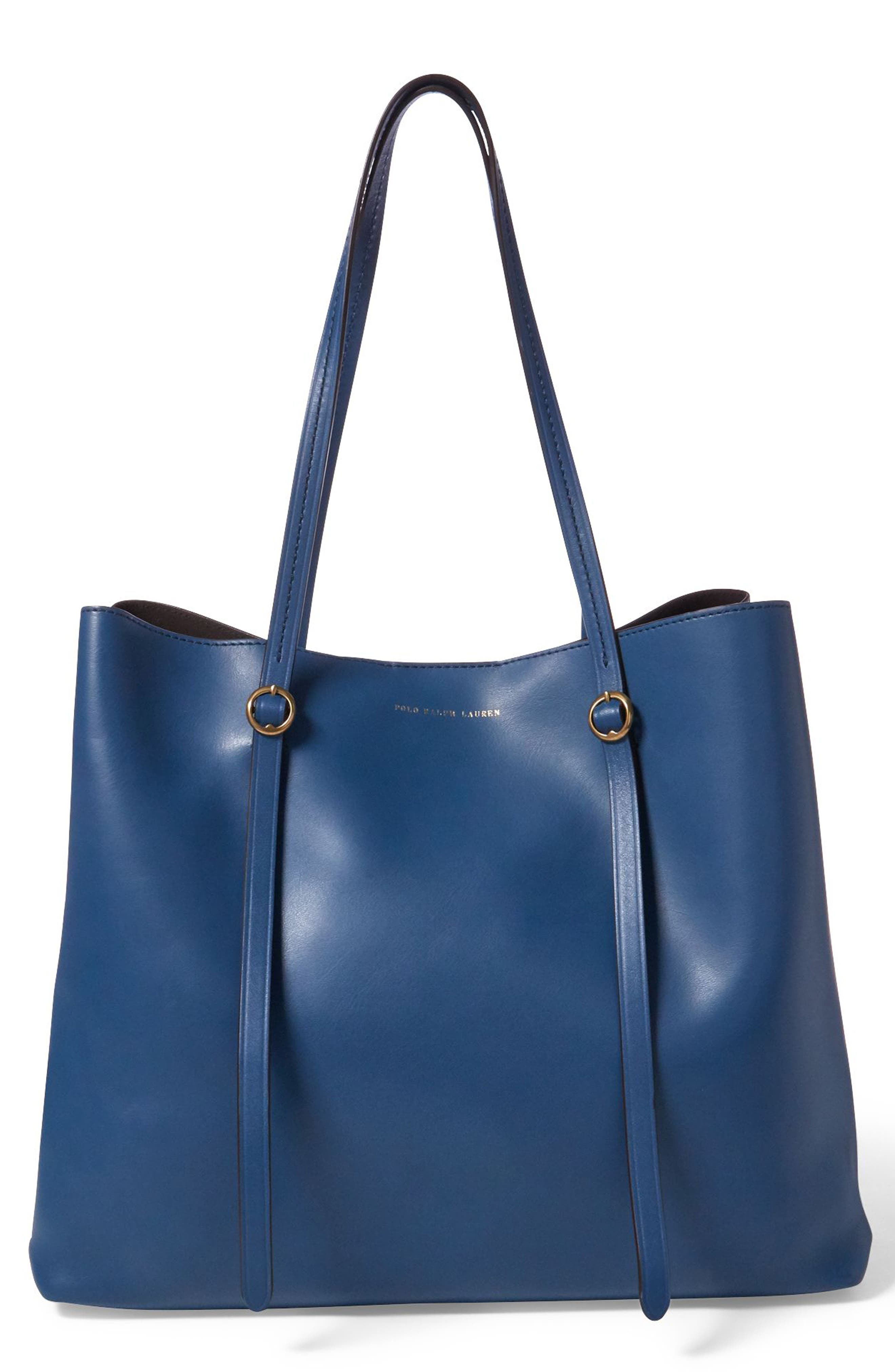 259918768704 Polo Ralph Lauren Lennox Leather Tote - Blue In Denim Blue ...