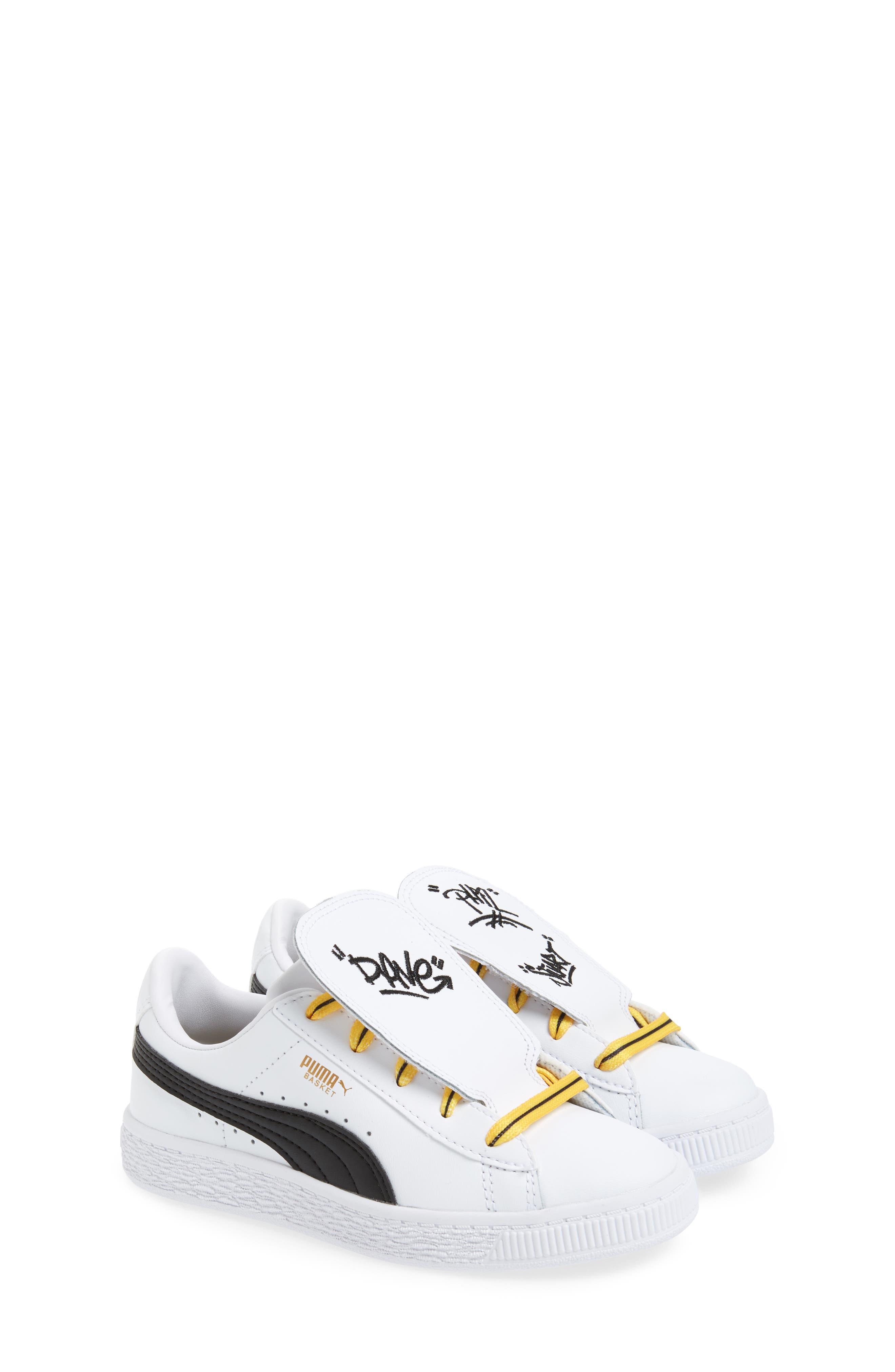 x Minions Basket Embroidered Tongue Sneaker,                             Alternate thumbnail 3, color,                             White/ Black/ Minion Yellow