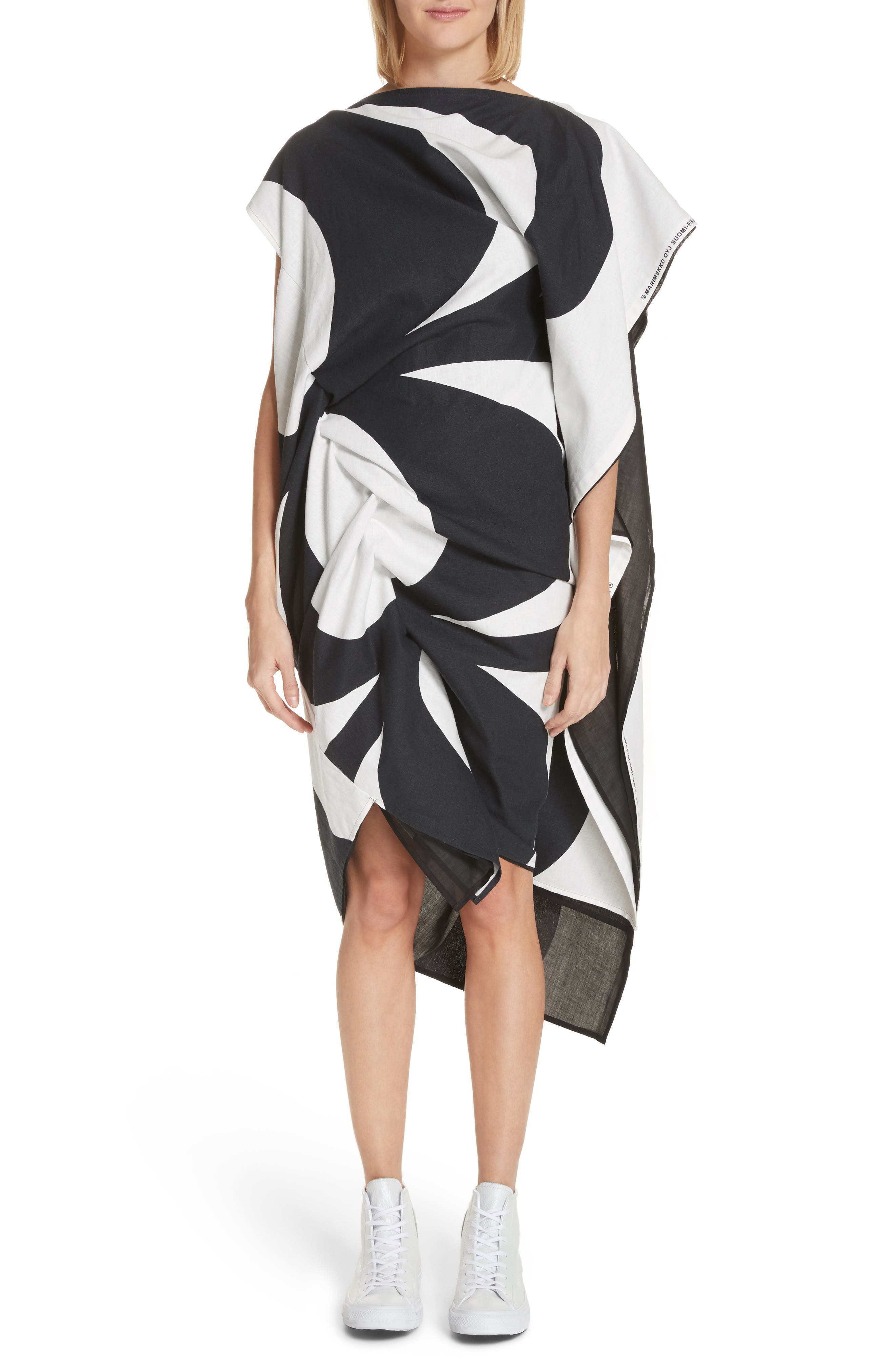 Circular Print Asymmetrical Draped Dress,                             Main thumbnail 1, color,                             Wht/ Blk X Blk