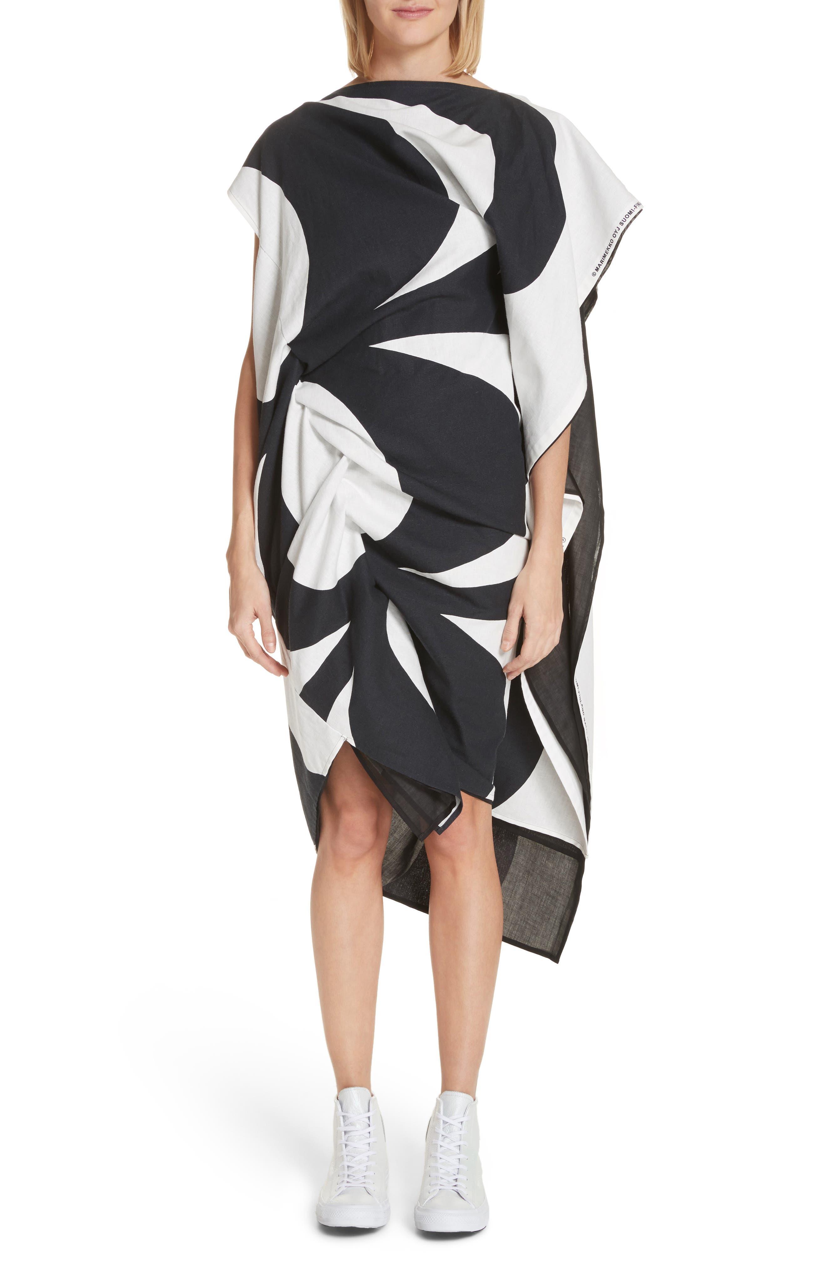 Circular Print Asymmetrical Draped Dress,                         Main,                         color, Wht/ Blk X Blk