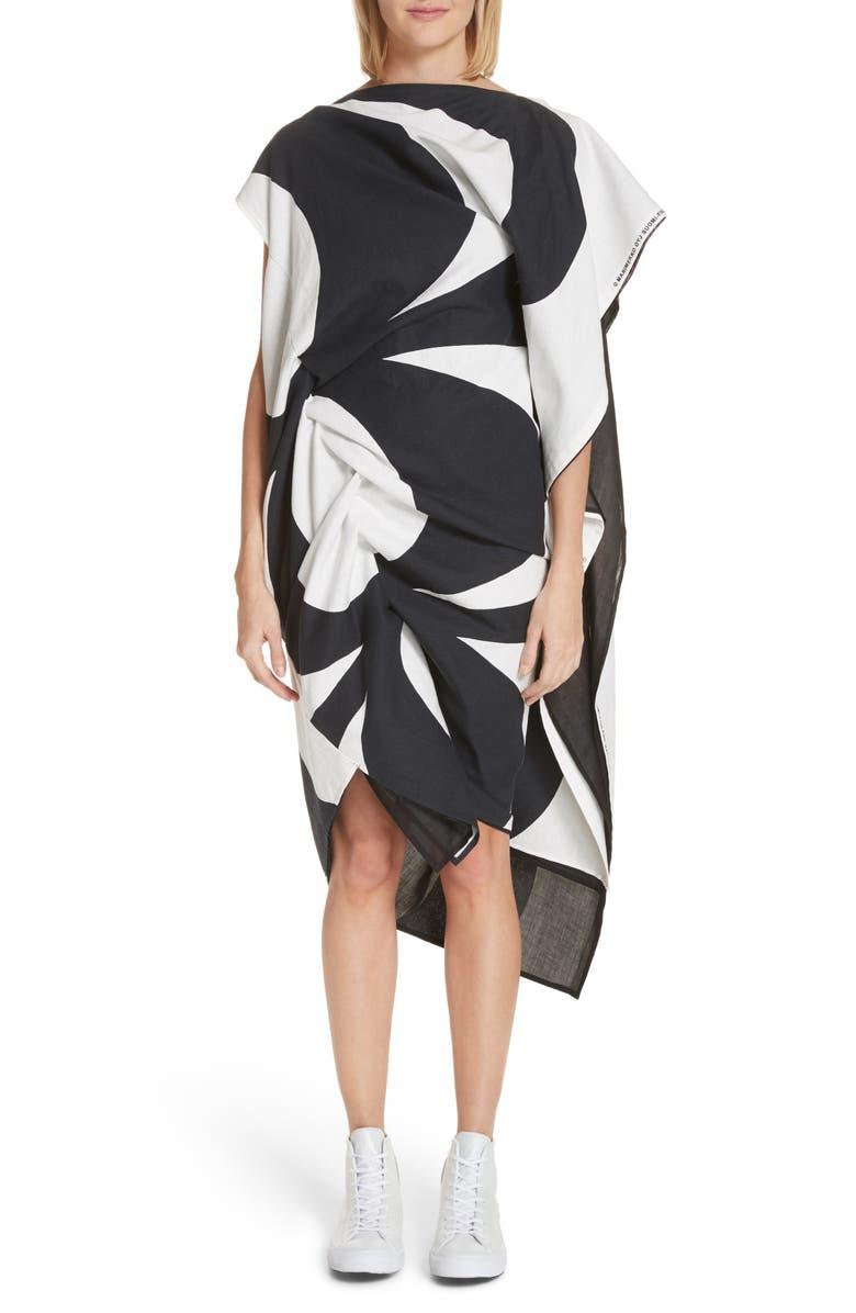 Circular Print Asymmetrical Draped Dress