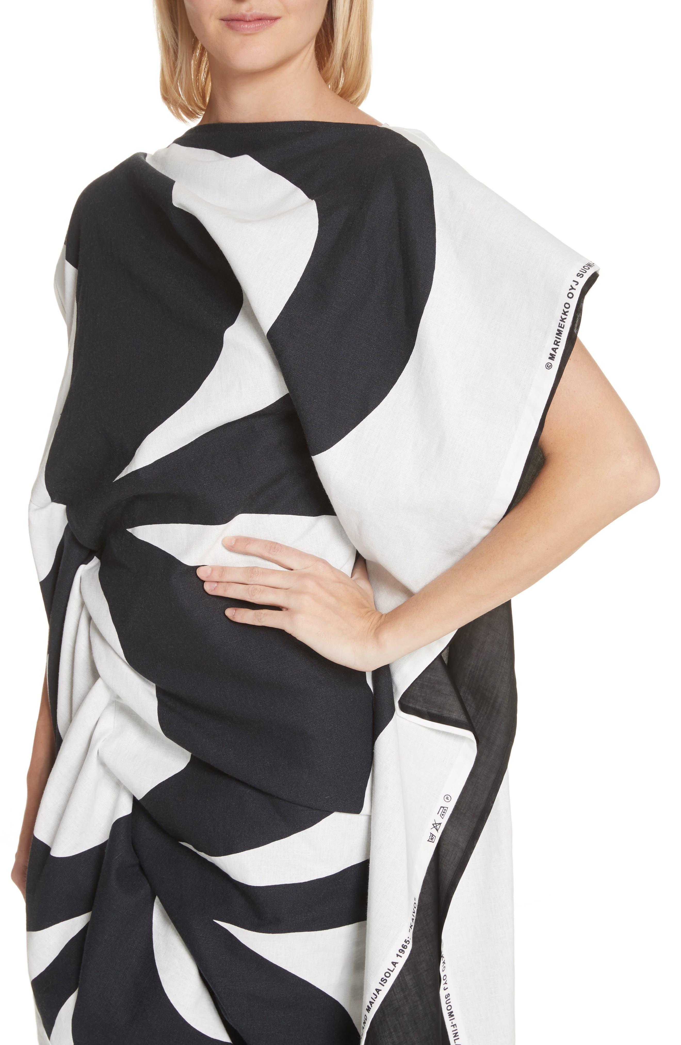 Circular Print Asymmetrical Draped Dress,                             Alternate thumbnail 4, color,                             Wht/ Blk X Blk