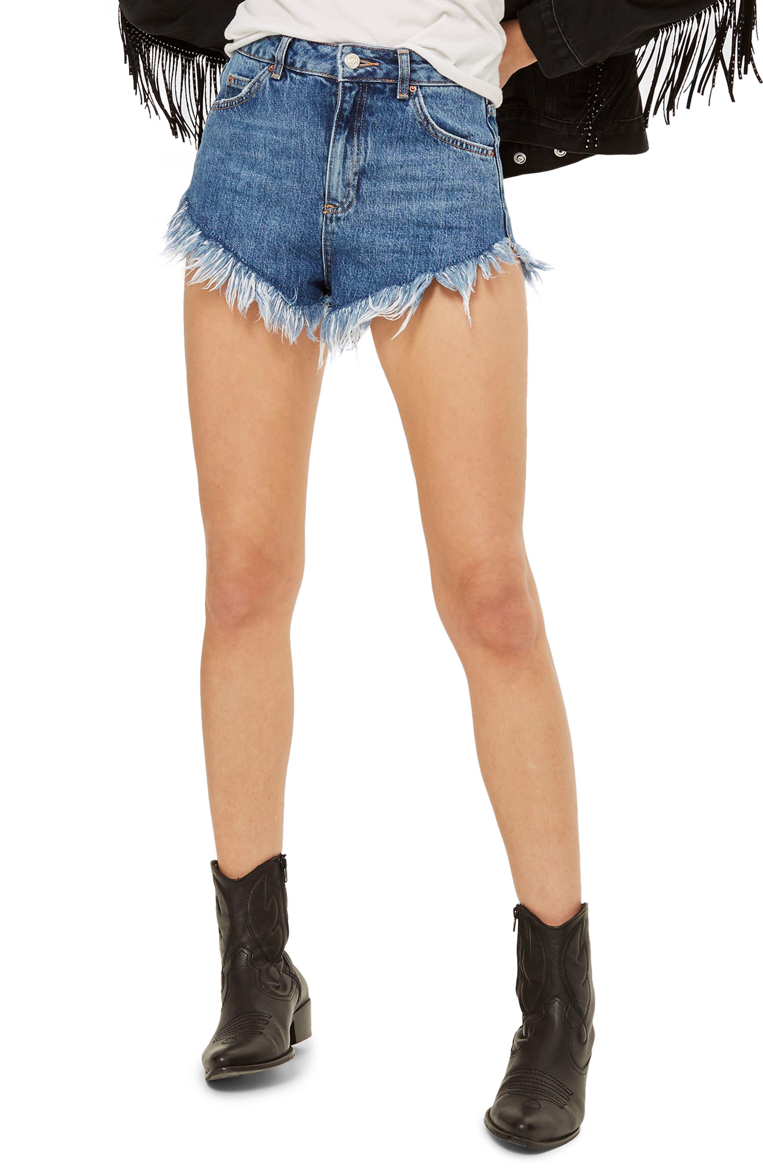 Kiri Fray Hem Shorts,                         Main,                         color, Mid Denim
