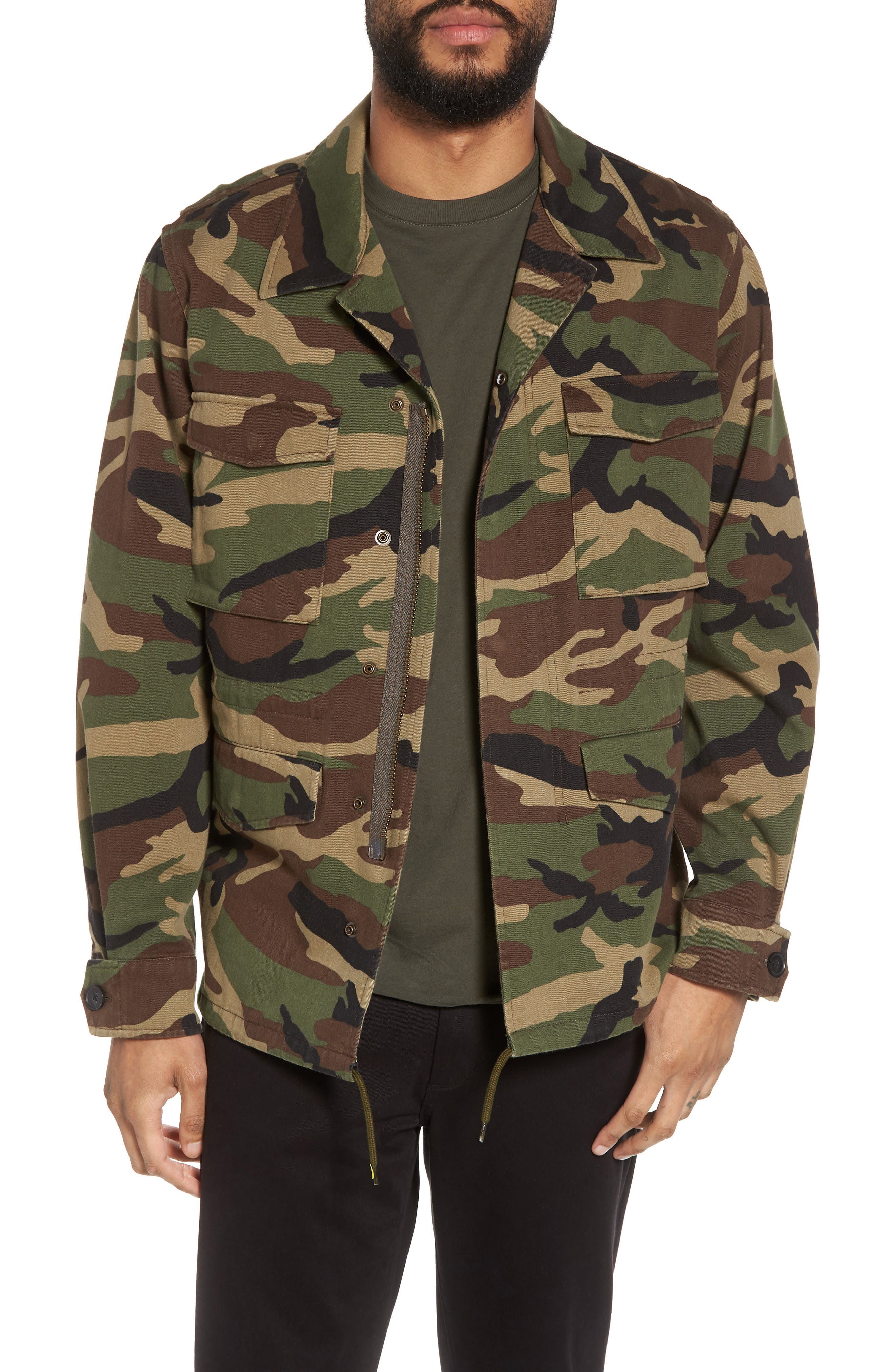 Slim Fit Camo Jacket,                         Main,                         color, Camo