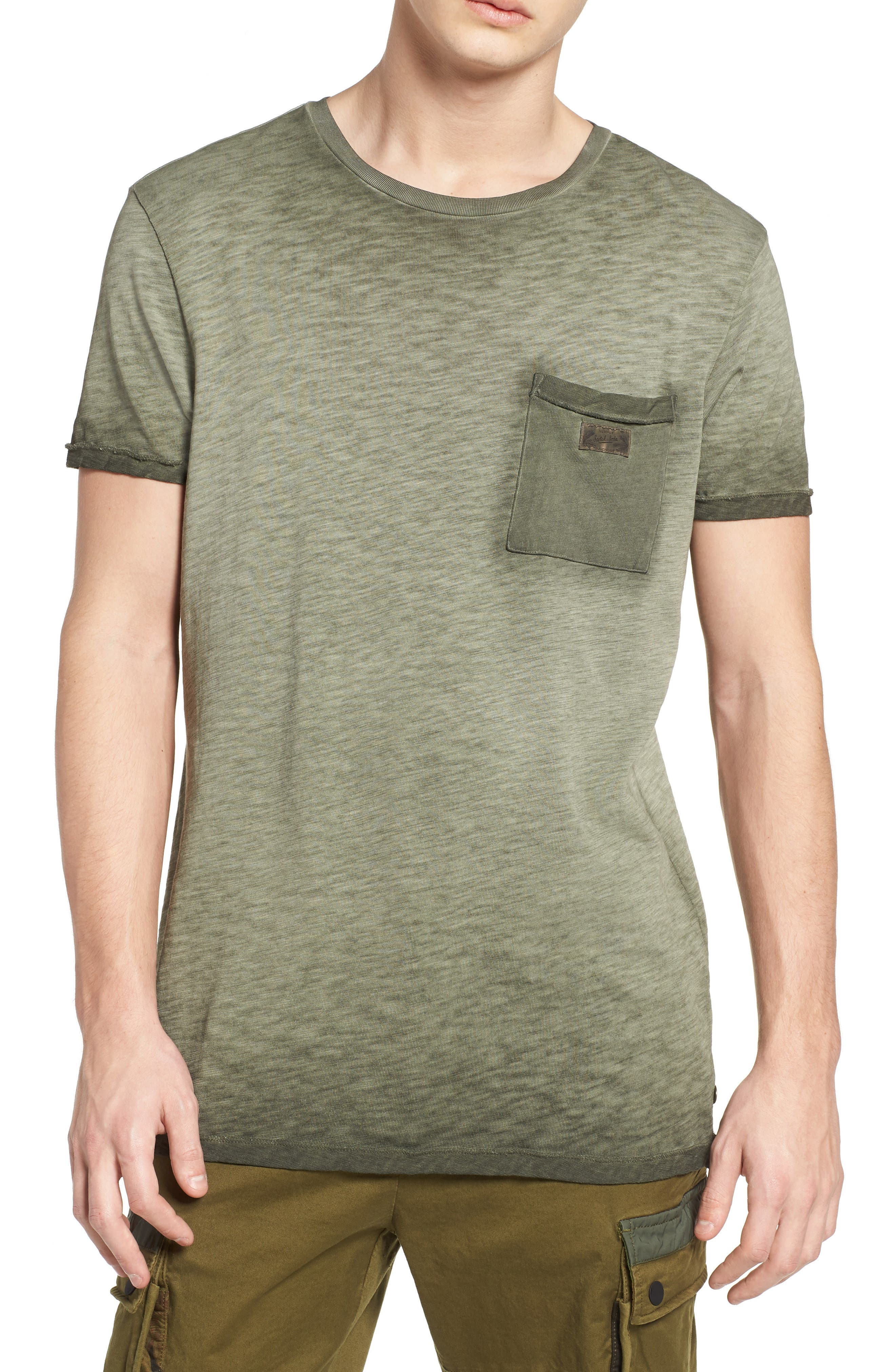 Oil Washed T-Shirt,                         Main,                         color, Army