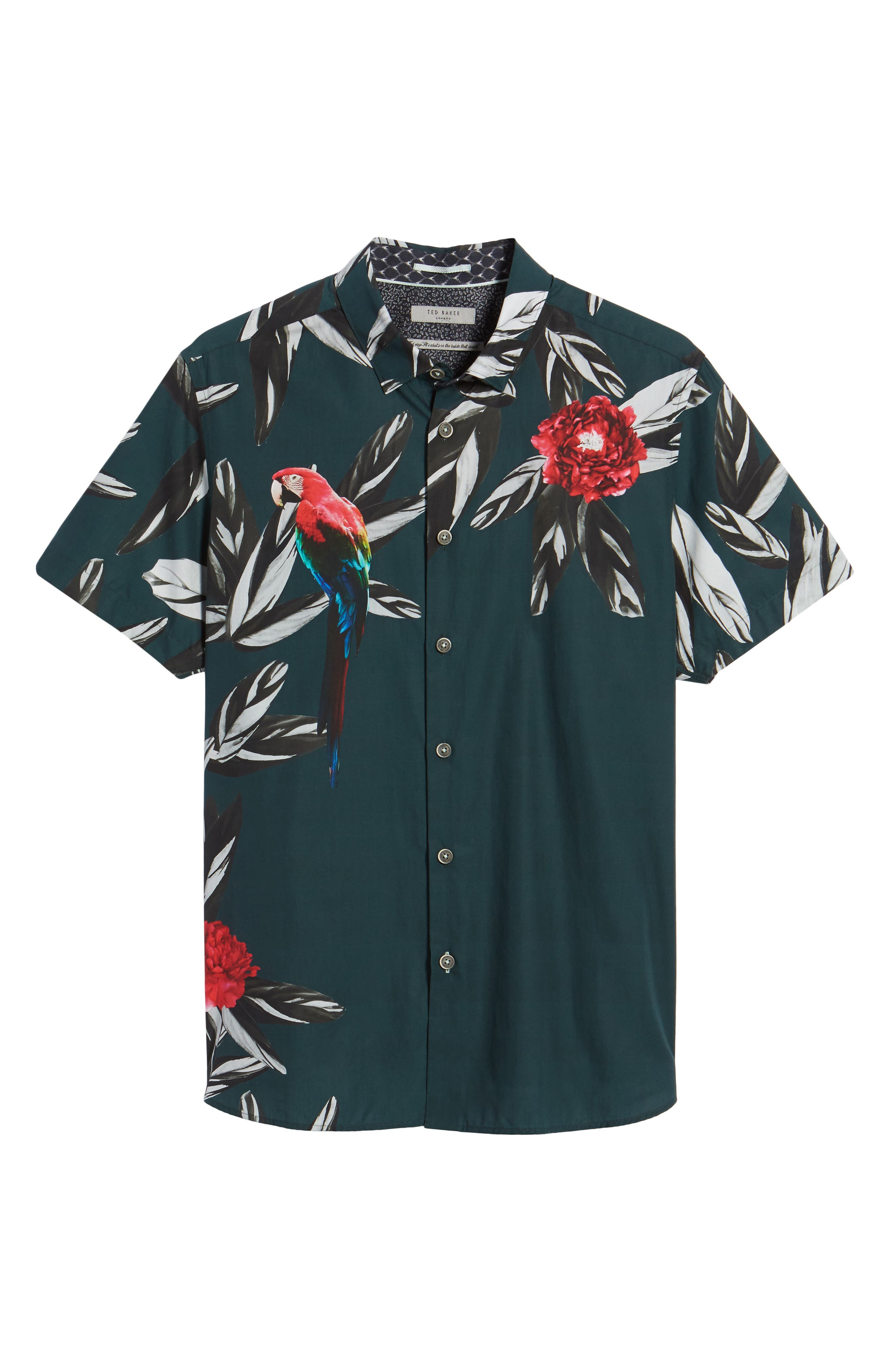 Trim Fit Parrot Print Sport Shirt,                             Alternate thumbnail 6, color,                             Dark Green