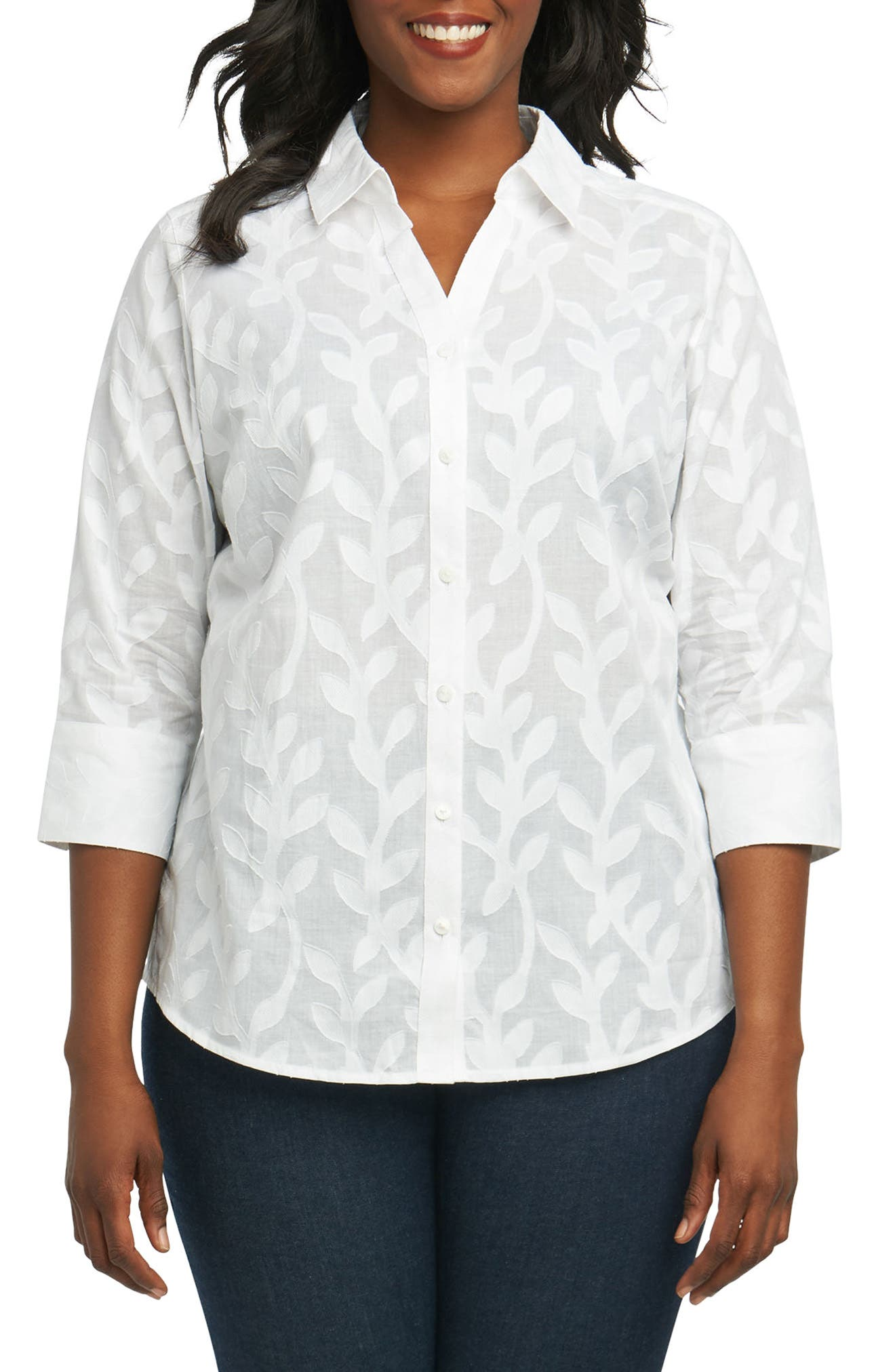 Mary Palm Jacquard Shirt,                             Main thumbnail 1, color,                             White