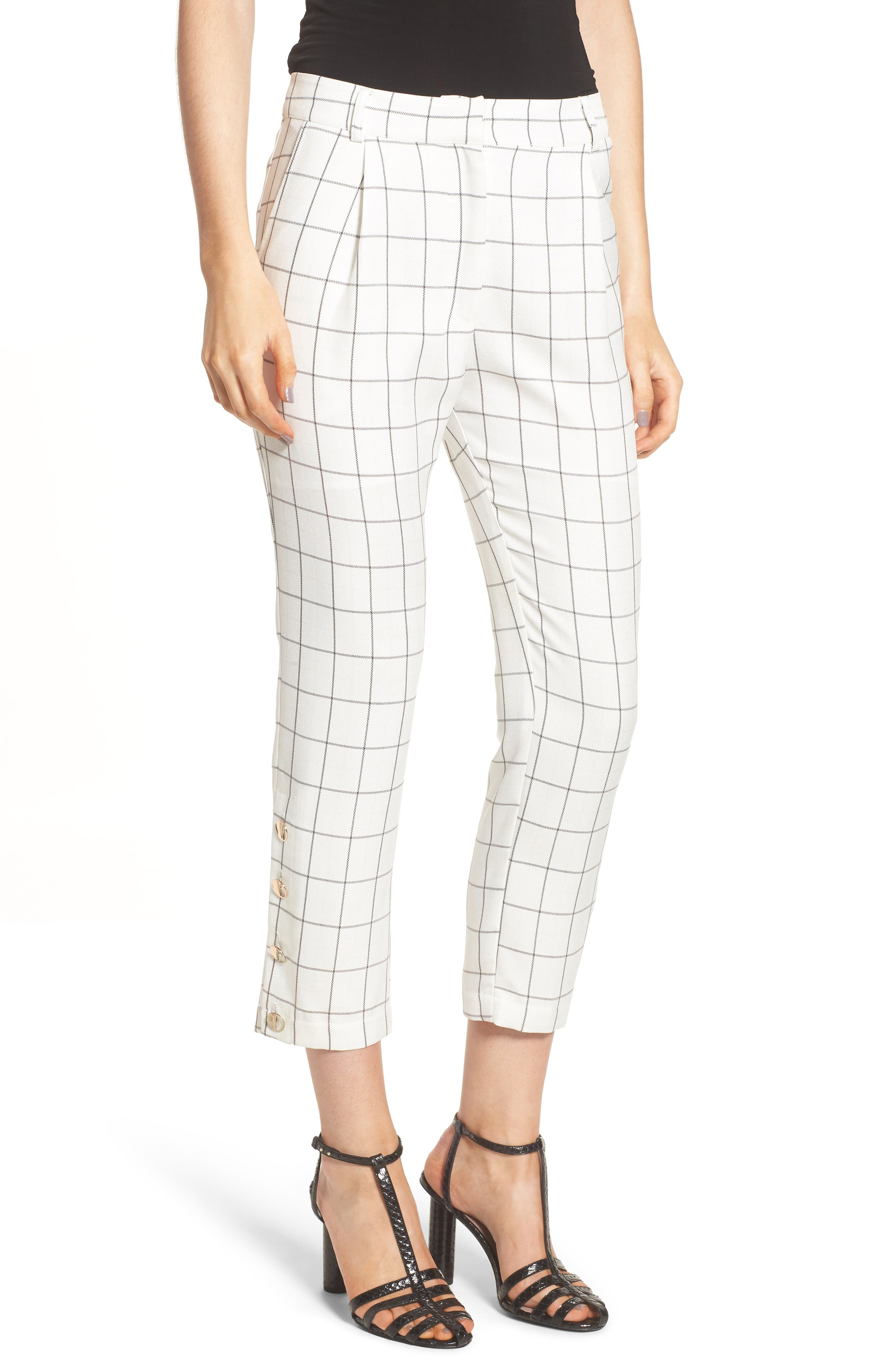 Chriselle x J.O.A. High Waist Ankle Skinny Trousers,                         Main,                         color, White