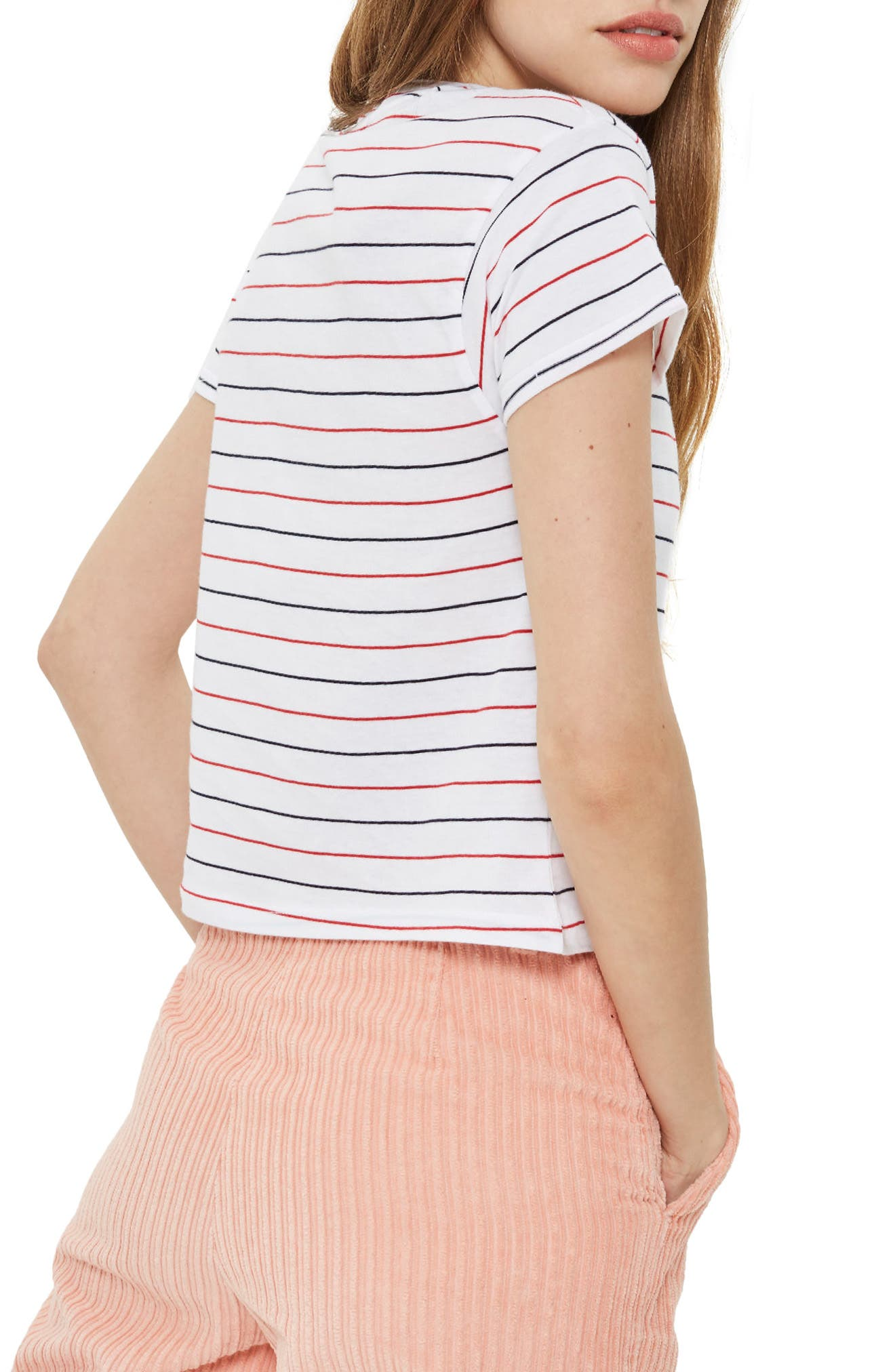 Pas De Garcons Stripe T-Shirt,                             Alternate thumbnail 2, color,                             White
