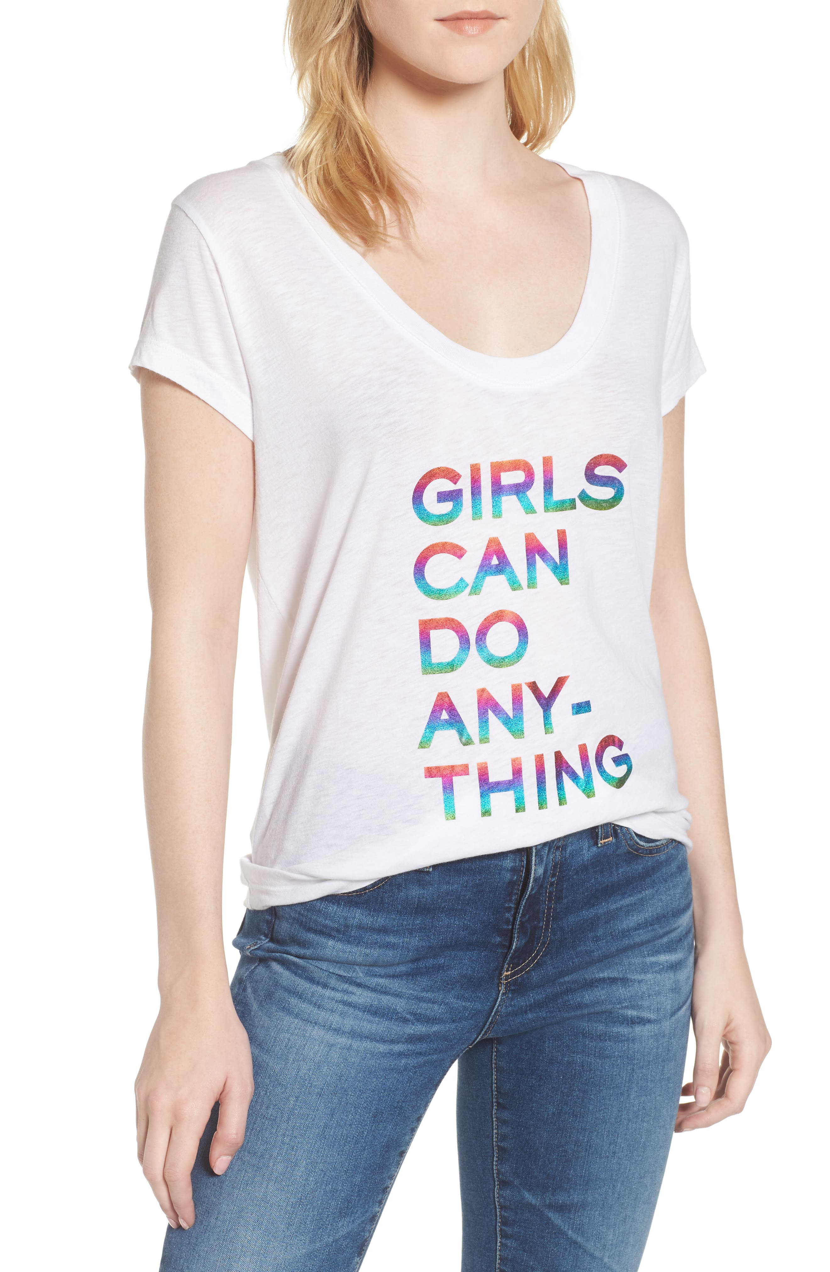 Girls Can Do Anything Graphic Tee,                         Main,                         color, Blanc
