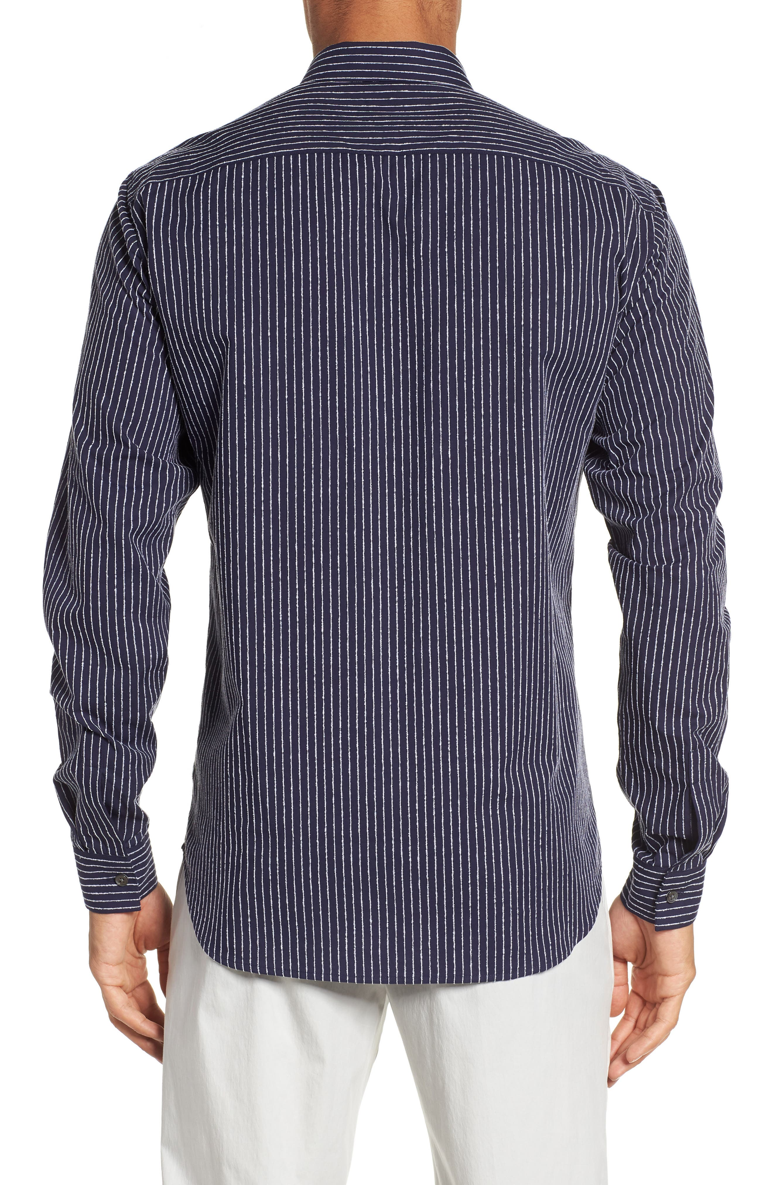 Irving Chenille Stripe Sport Shirt,                             Alternate thumbnail 2, color,                             Eclipse Stripe