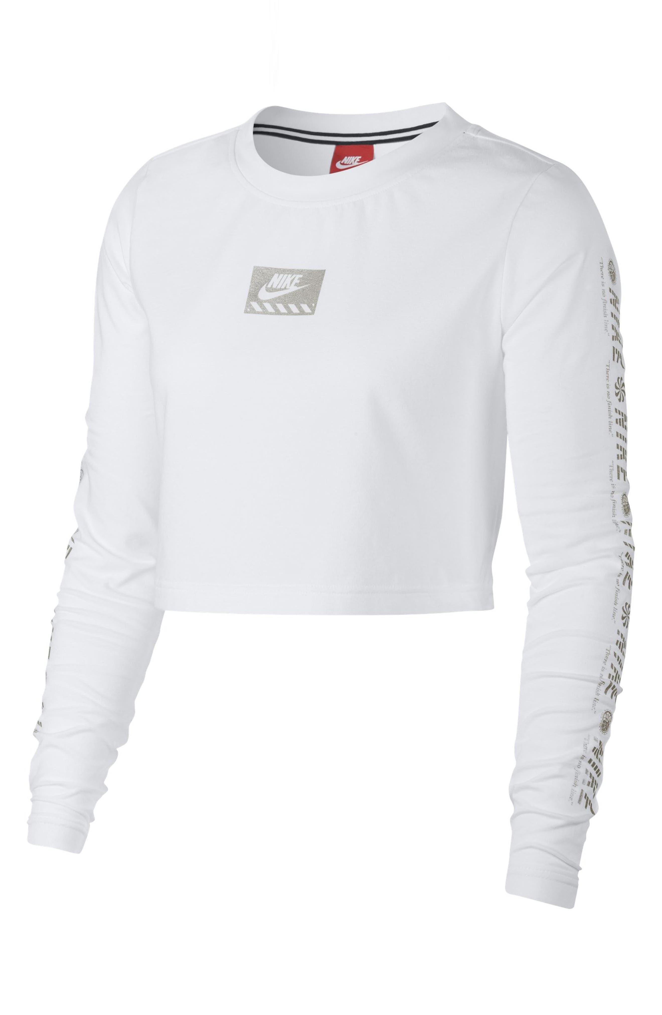 Women's Sportswear Long Sleeve Crop Top,                         Main,                         color, White/ Metallic Silver