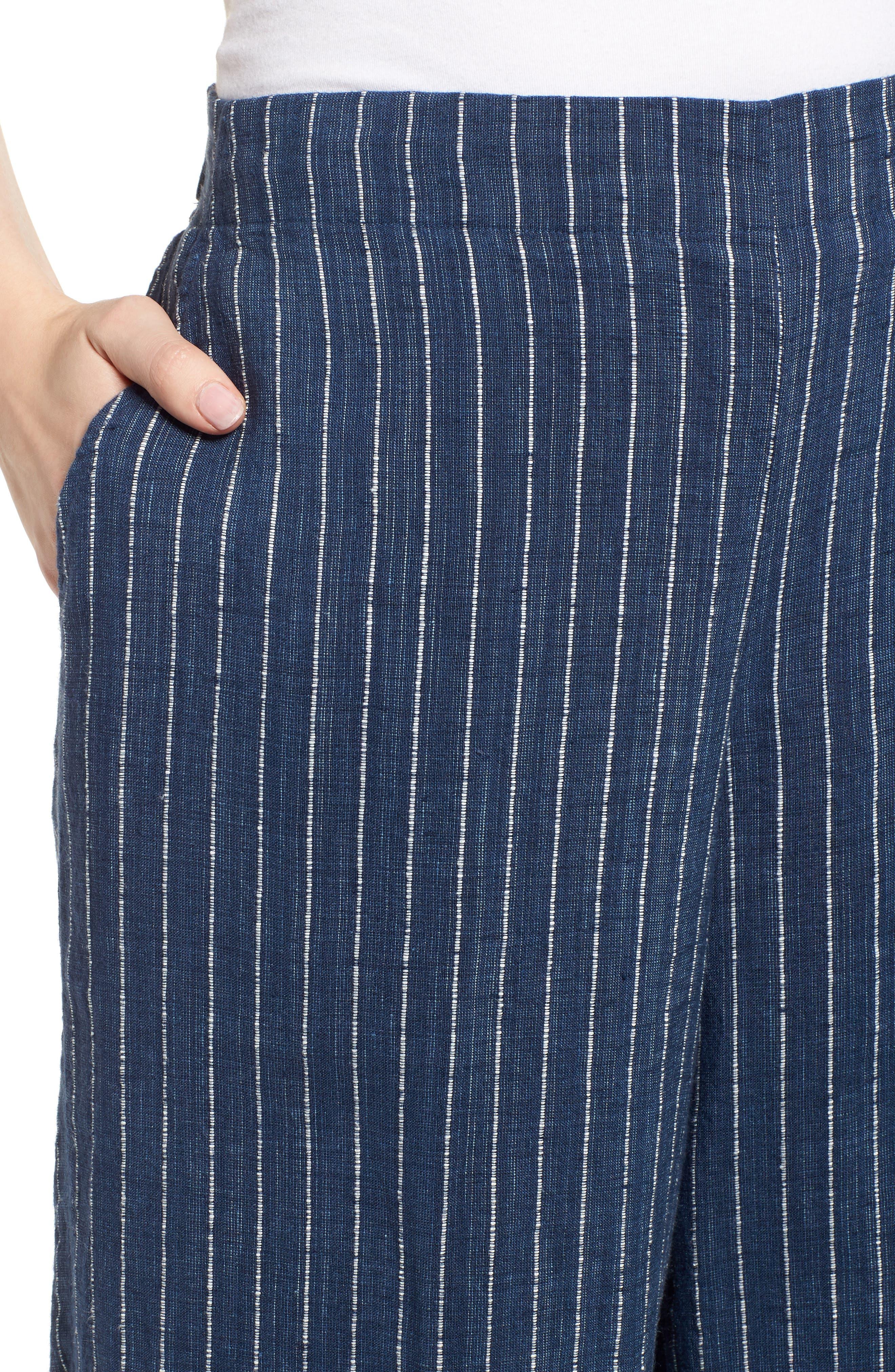 Stripe Linen Crop Pants,                             Alternate thumbnail 4, color,                             Denim