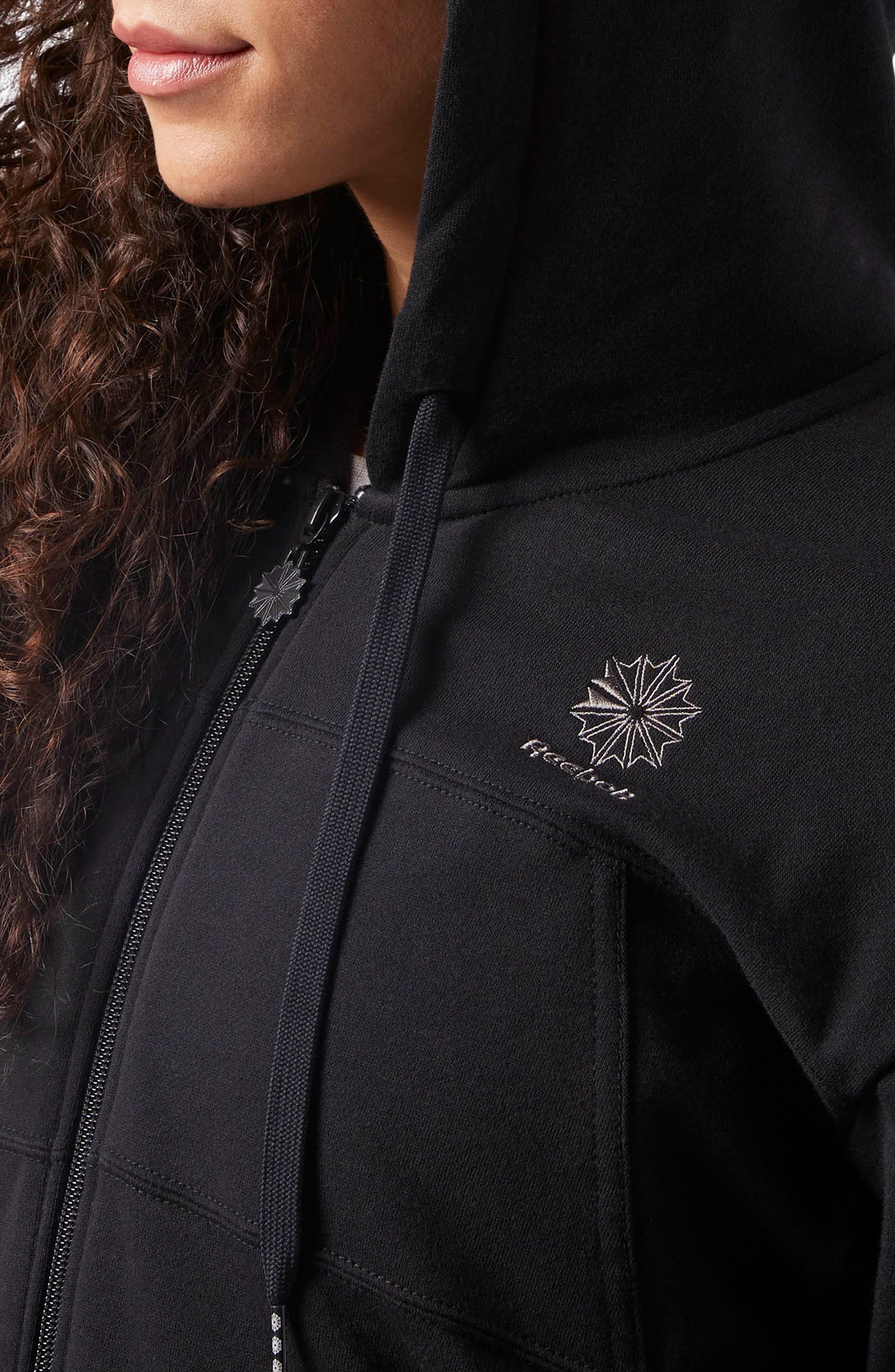 Full Zip French Terry Hoodie,                             Alternate thumbnail 5, color,                             Black