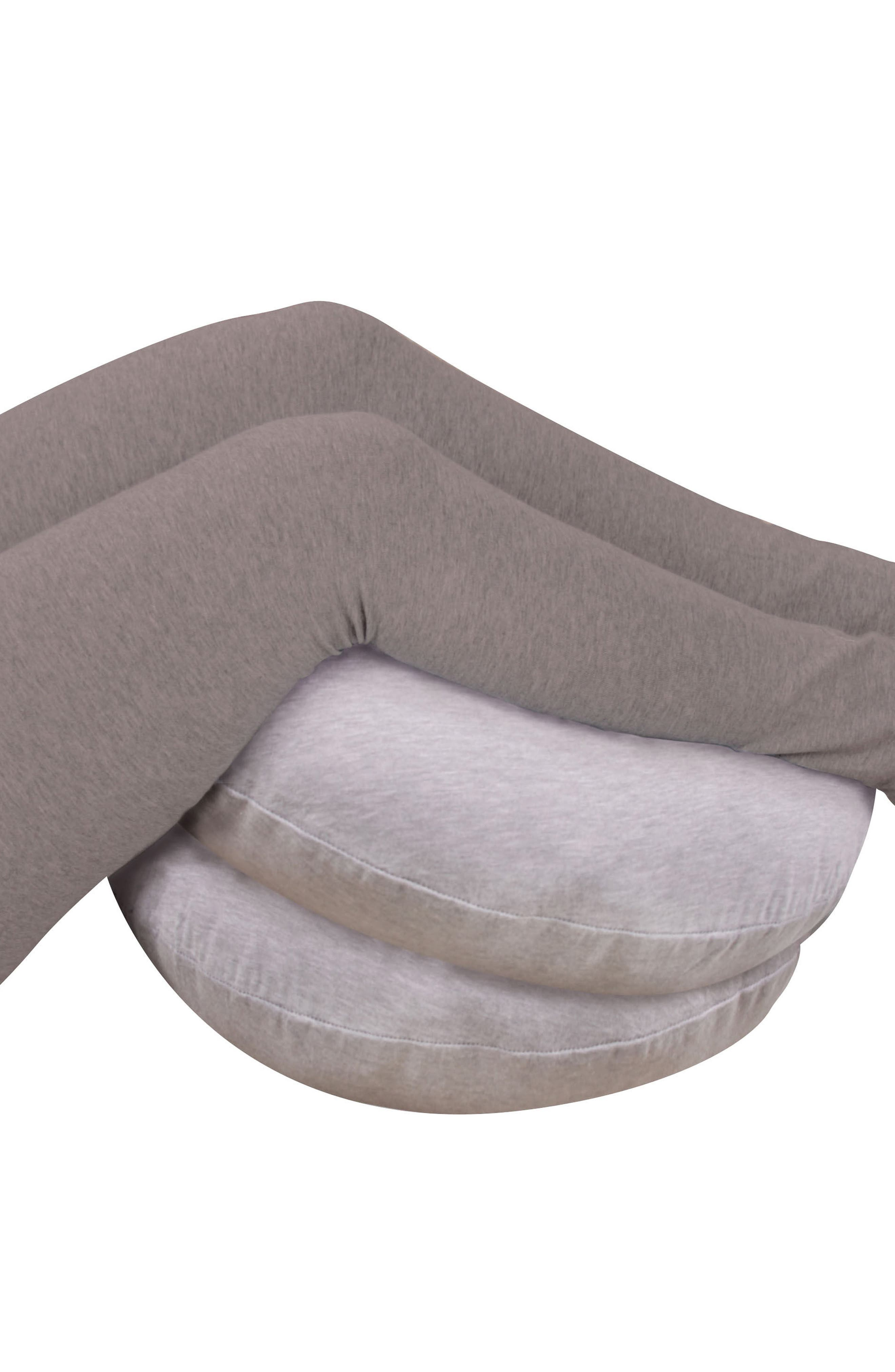 Mini Snoogle Chic Jersey Pregnancy Support Body Pillow,                             Alternate thumbnail 4, color,                             Heather Gray