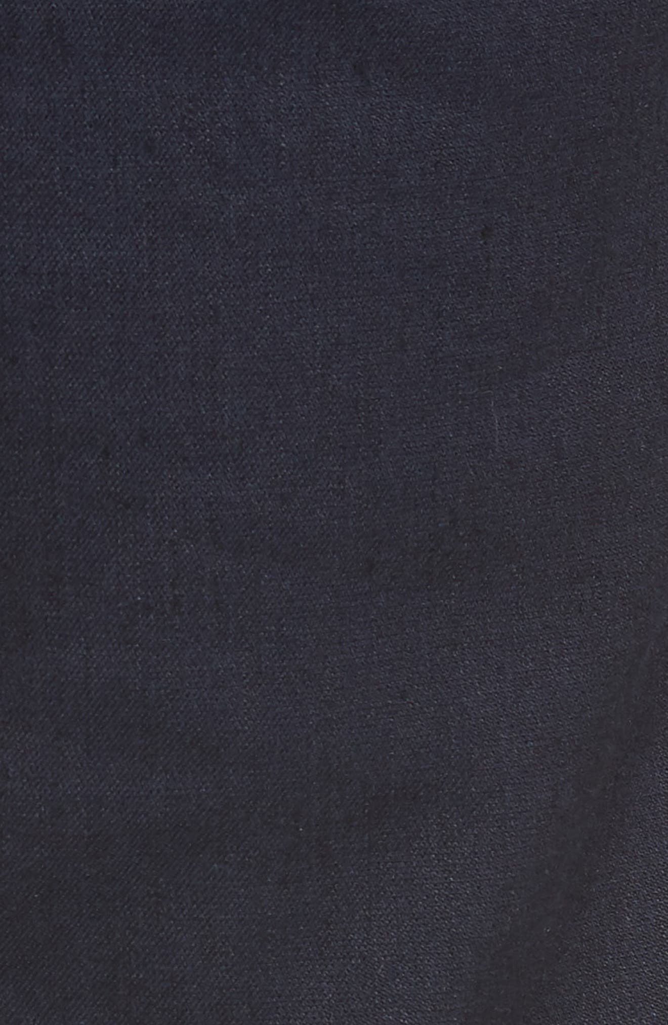 Flat Front Stretch Linen & Cotton Trousers,                             Alternate thumbnail 5, color,                             Navy
