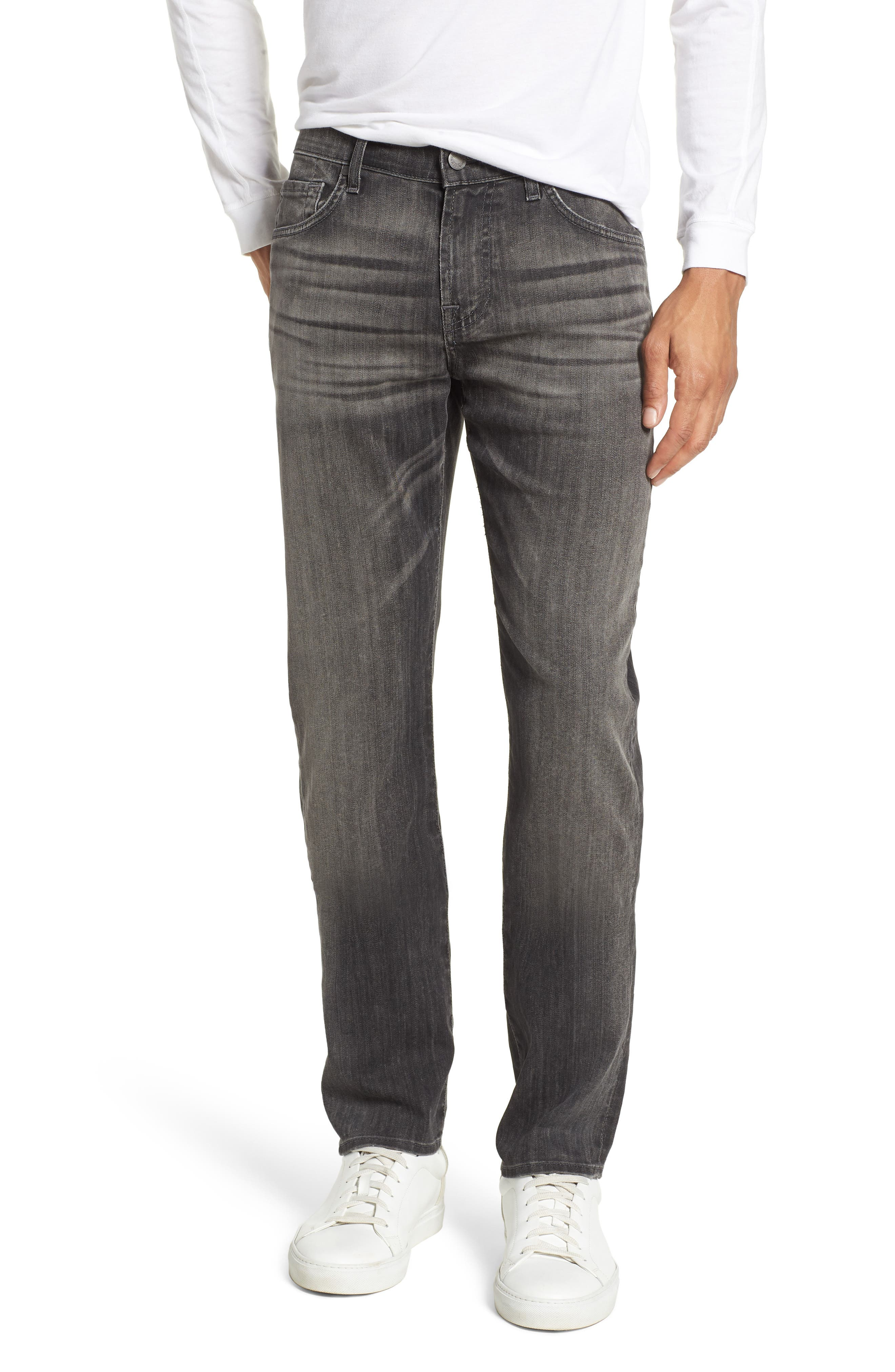 Main Image - 7 For All Mankind® The Straight Slim Straight Leg Jeans (Halide Grey)