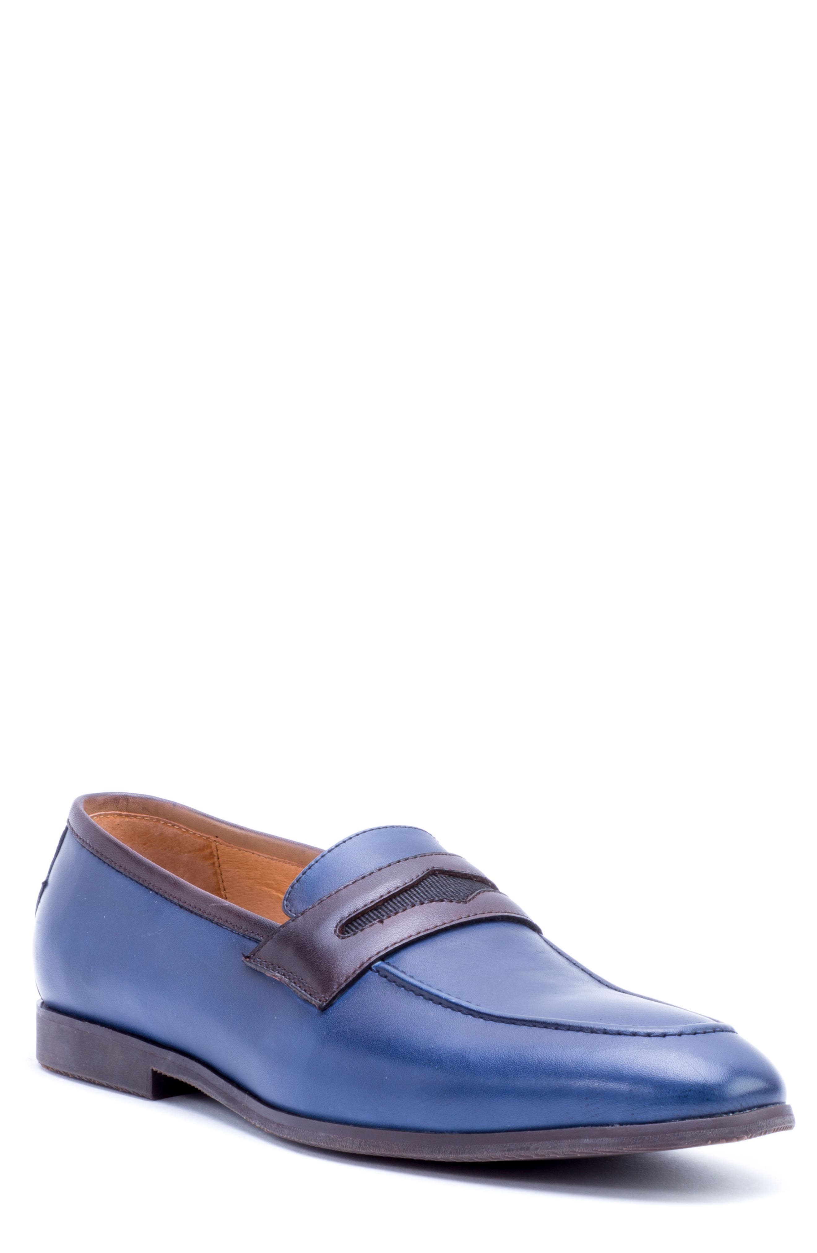 Apron Toe Penny Loafer,                         Main,                         color, Navy Leather