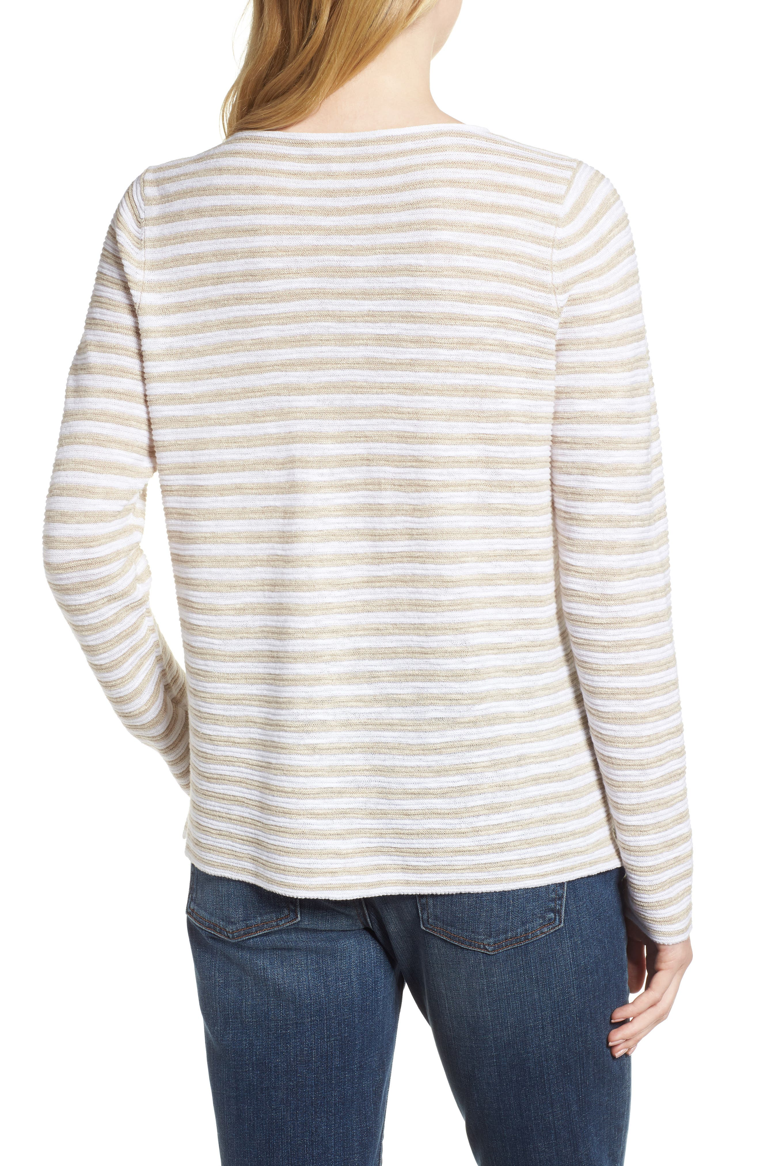 Stripe Organic Linen & Cotton Sweater,                             Alternate thumbnail 2, color,                             White/ Natural
