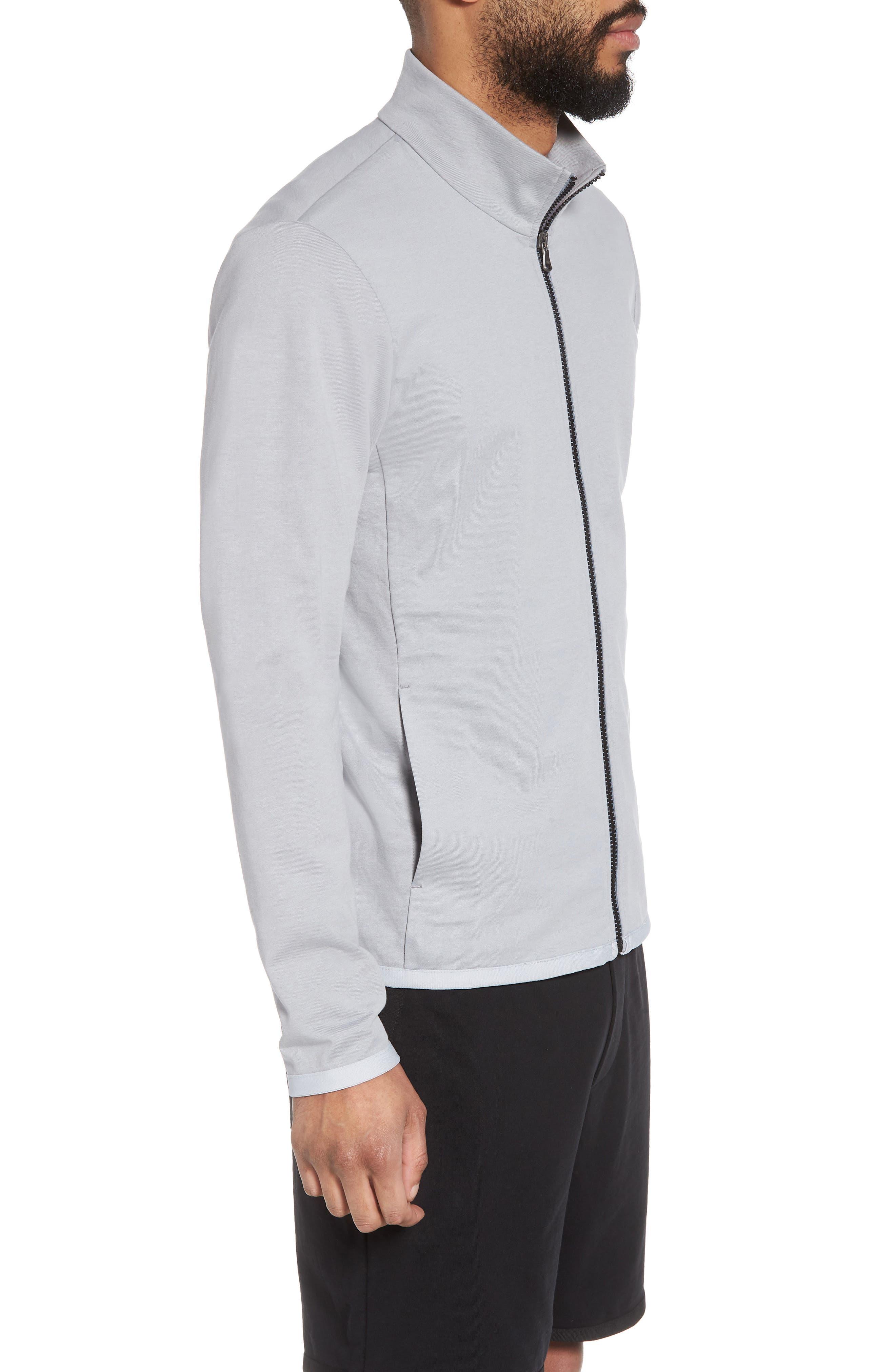 Slim Fit Compact Terry Zip Jacket,                             Alternate thumbnail 3, color,                             Grey Sky/ Light Grey