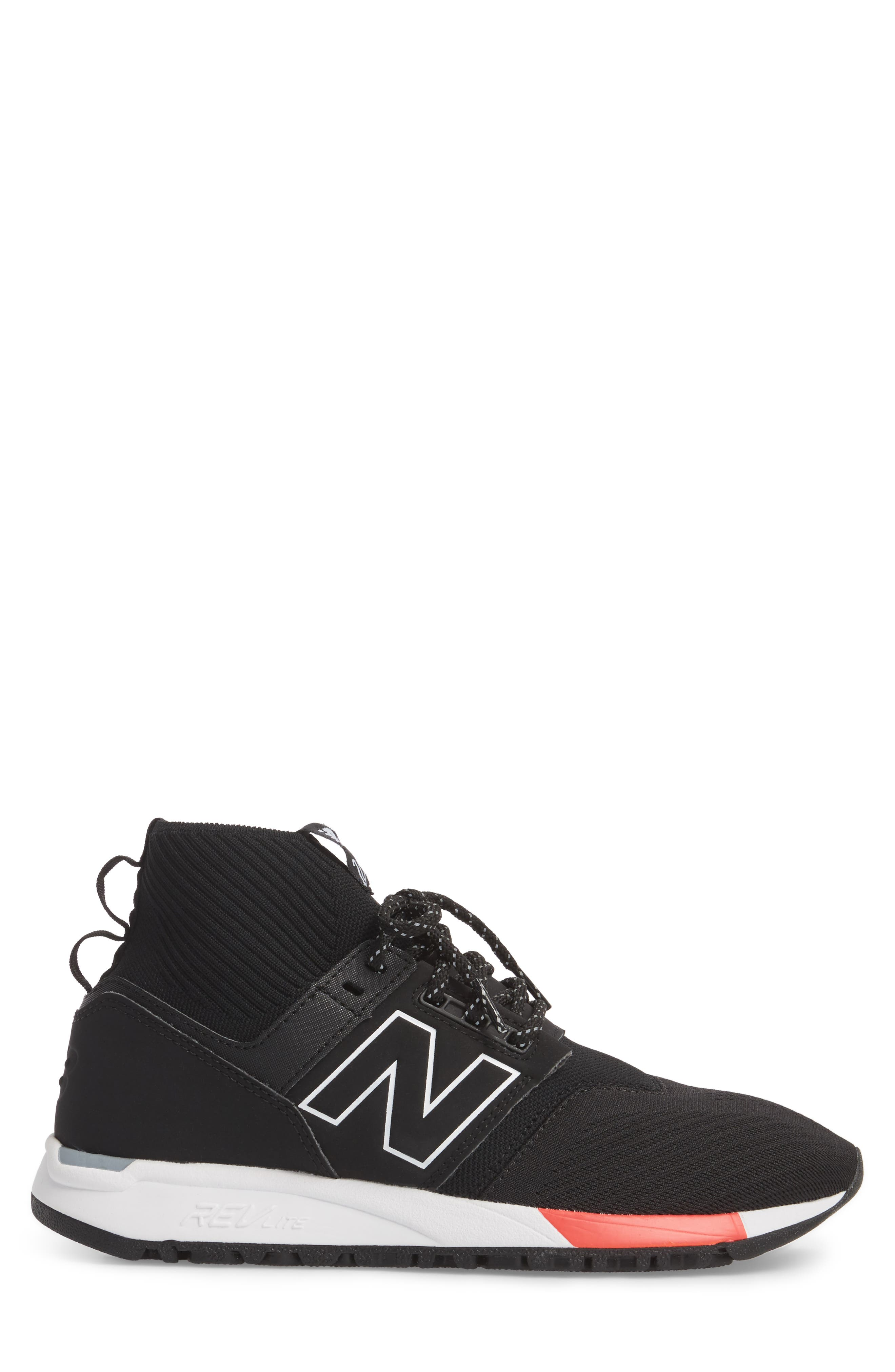 247 Mid Sneaker,                             Alternate thumbnail 3, color,                             Black