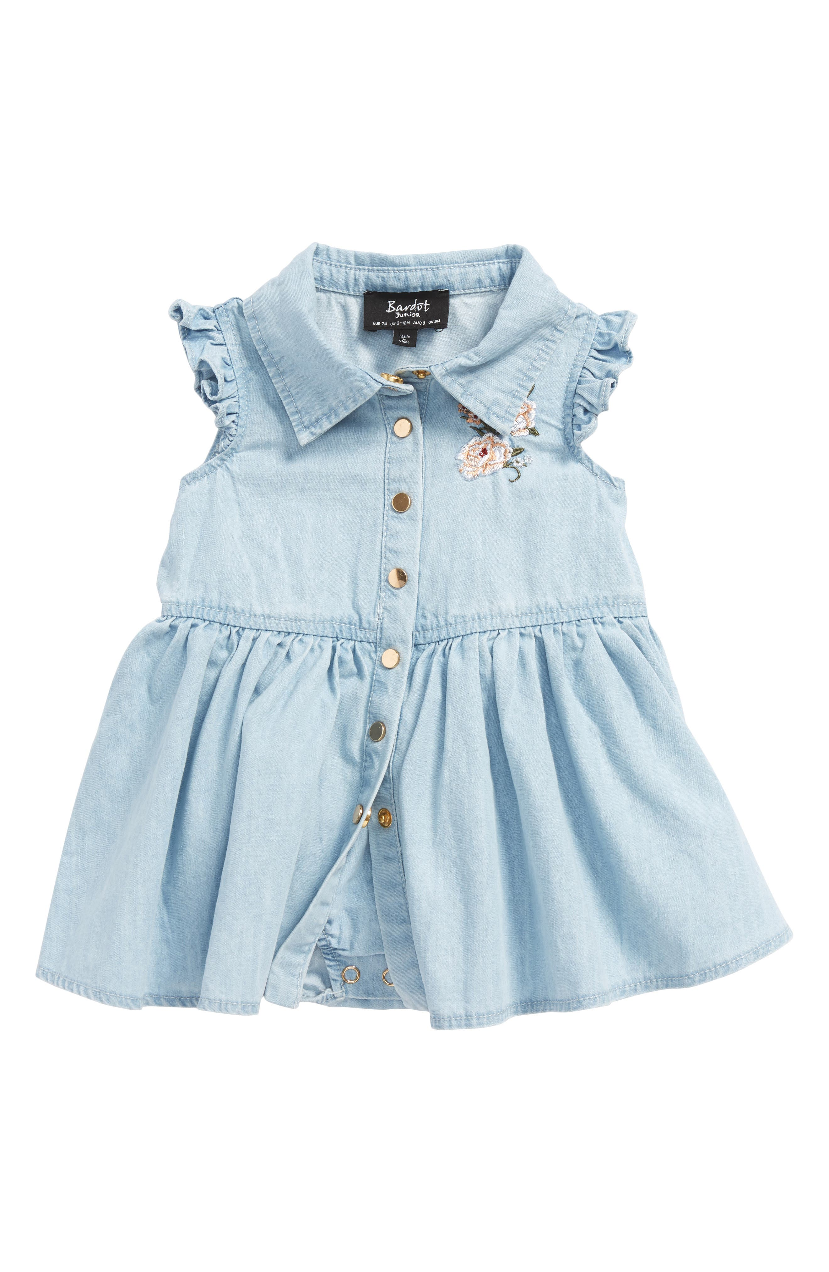 Denim Skirted Bodysuit,                             Main thumbnail 1, color,                             Chambray