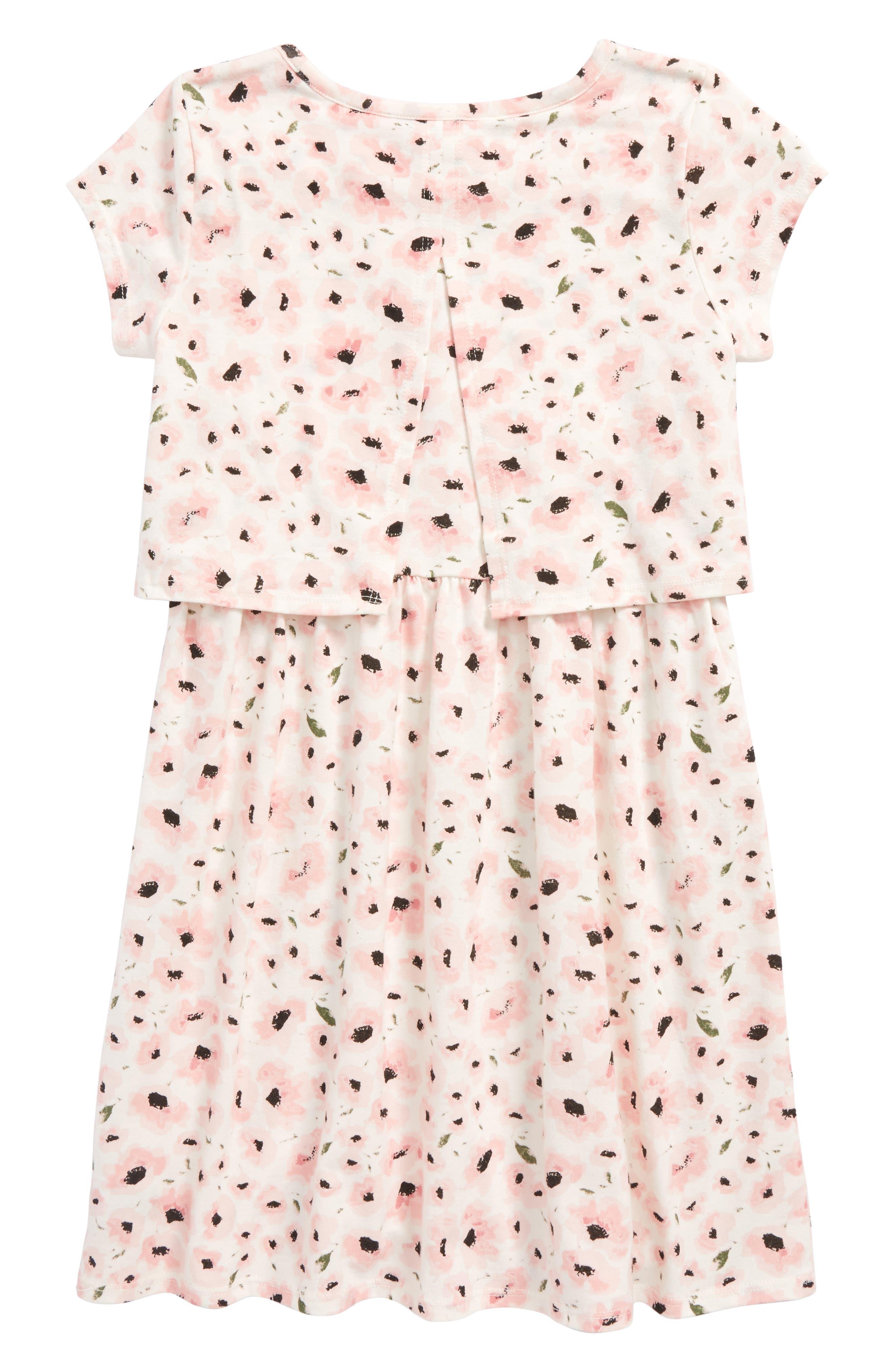 Floral Print Popover Dress,                             Alternate thumbnail 2, color,                             Ivory Egret Summer Flower