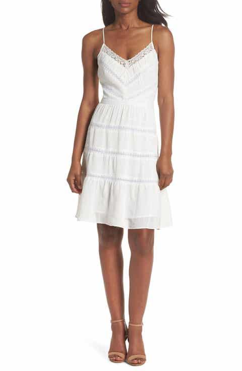 Womens teens little white dresses nordstrom adelyn rae damaris lace trim dress junglespirit Images