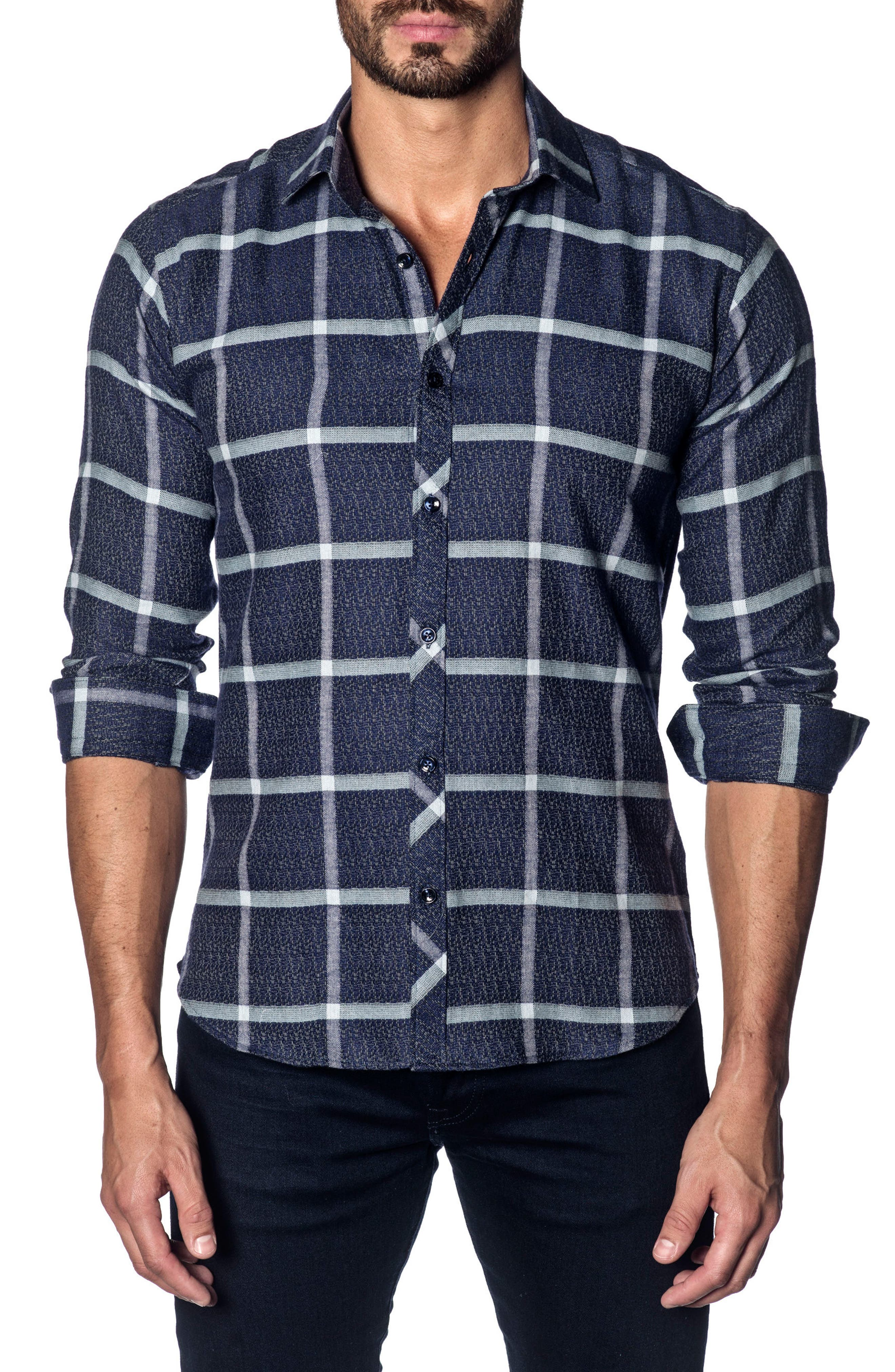 Trim Fit Grid Sport Shirt,                             Main thumbnail 1, color,                             Dark Navy Plaid