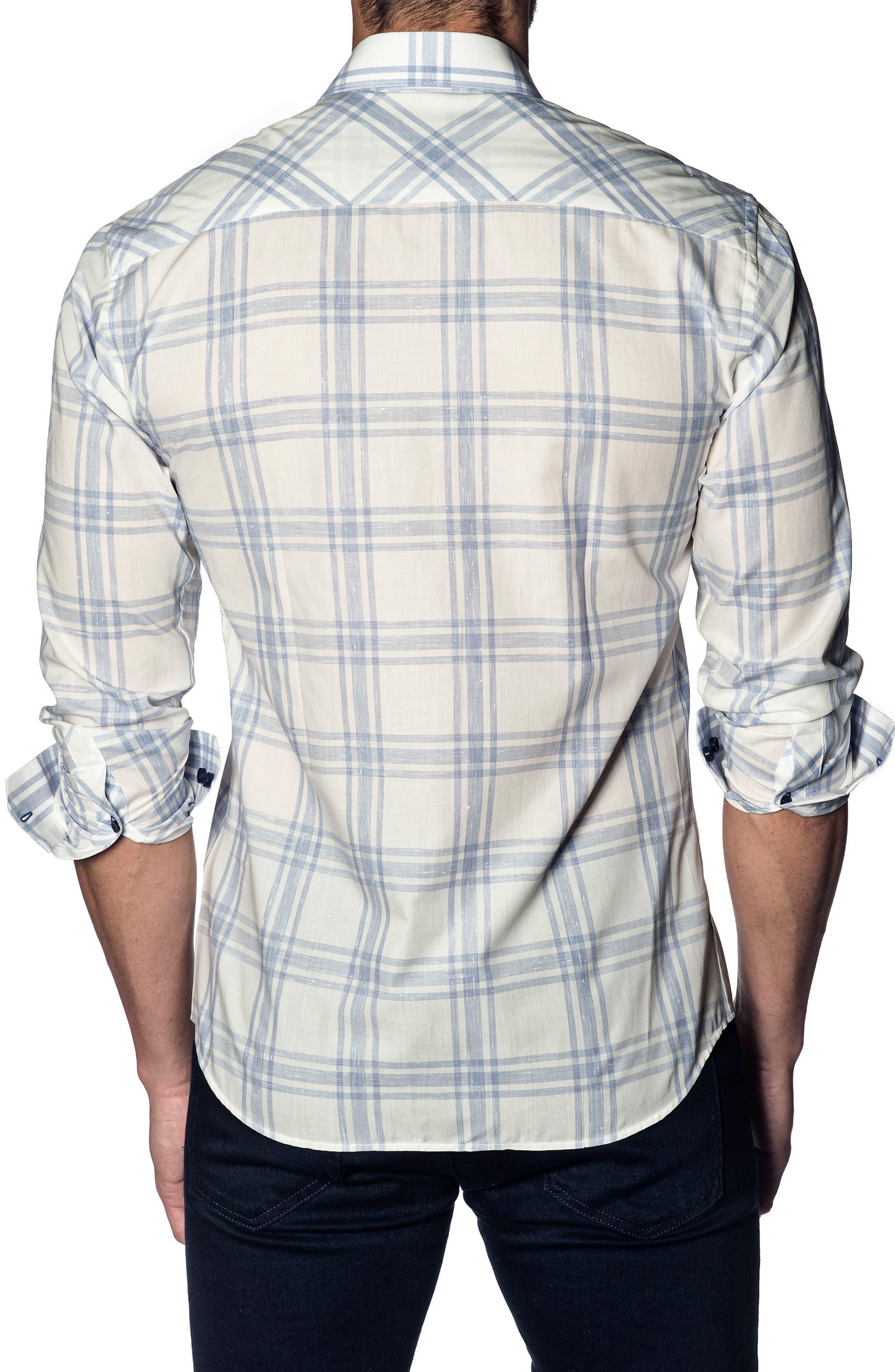 Trim Fit Plaid Sport Shirt,                             Alternate thumbnail 2, color,                             White - Blue Red Stripe
