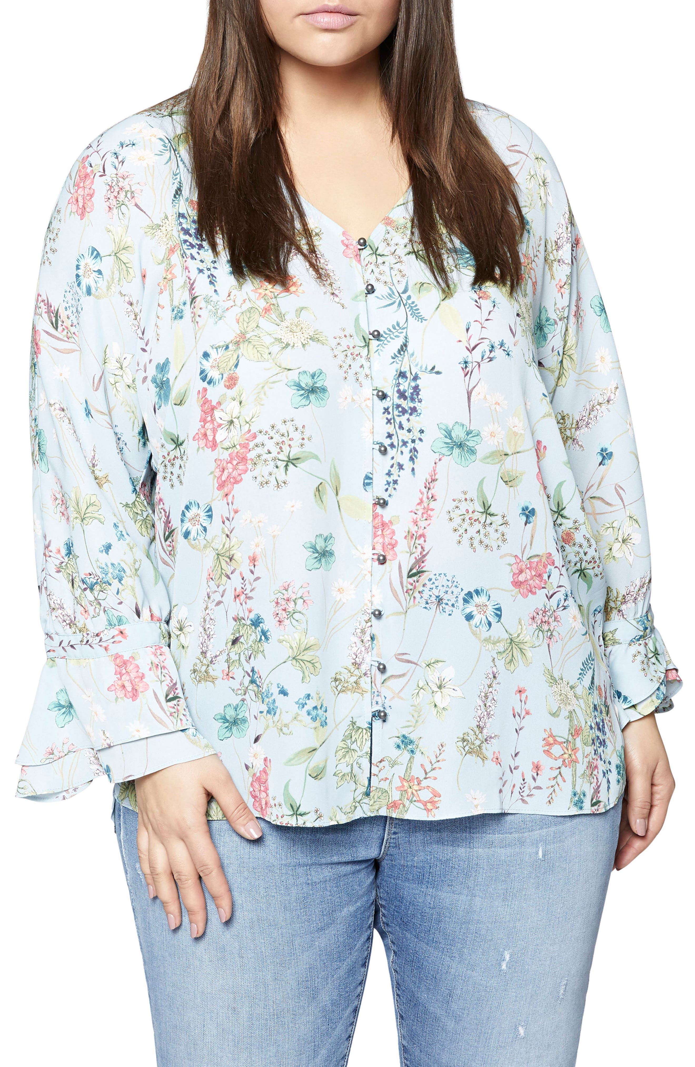 Posey Floral Blouse,                             Main thumbnail 1, color,                             Bluebell