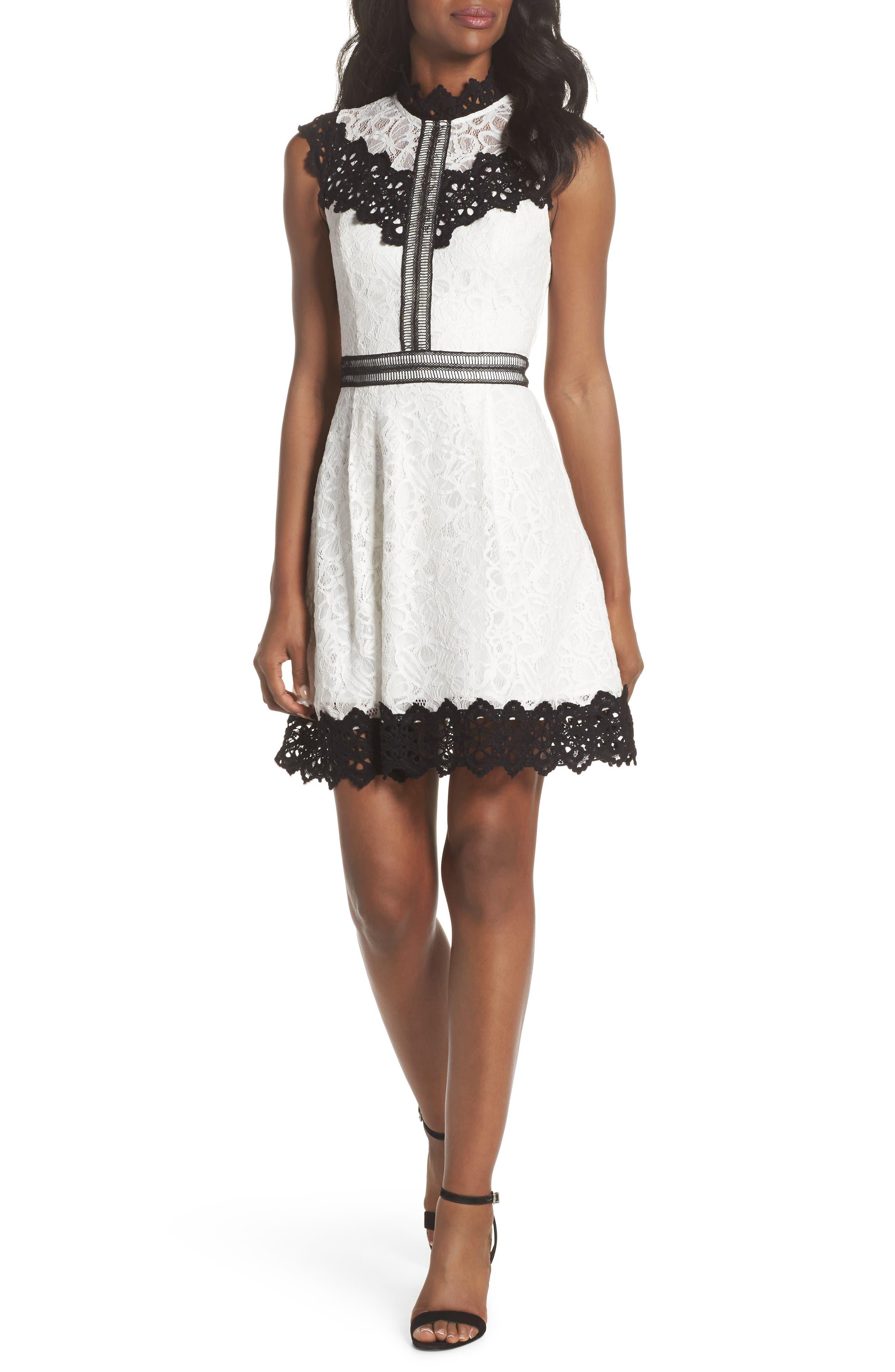 Hilda Fit & Flare Dress,                         Main,                         color, White/ Black