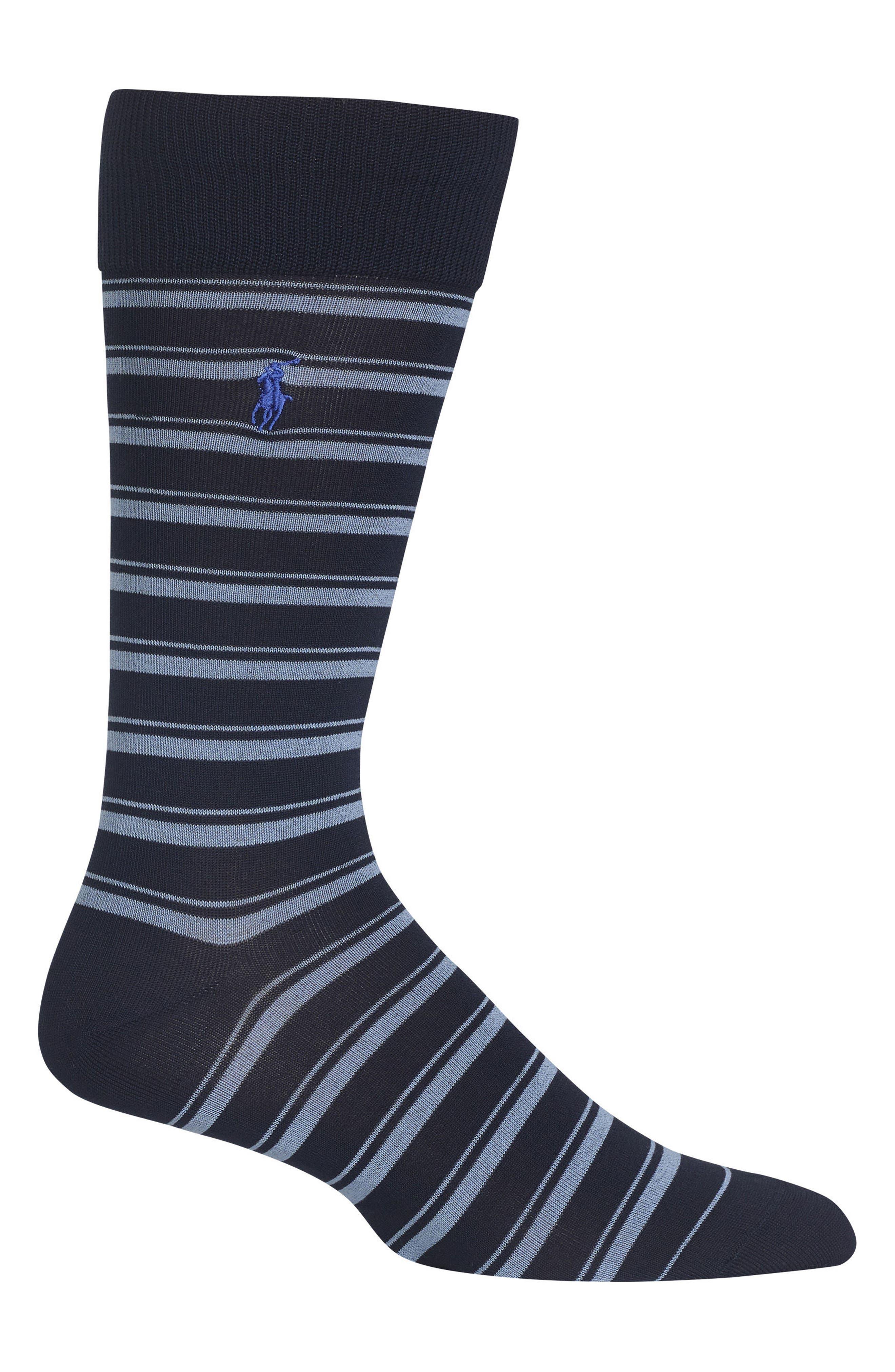 Ralph Lauren Stripe Socks,                             Main thumbnail 1, color,                             Navy
